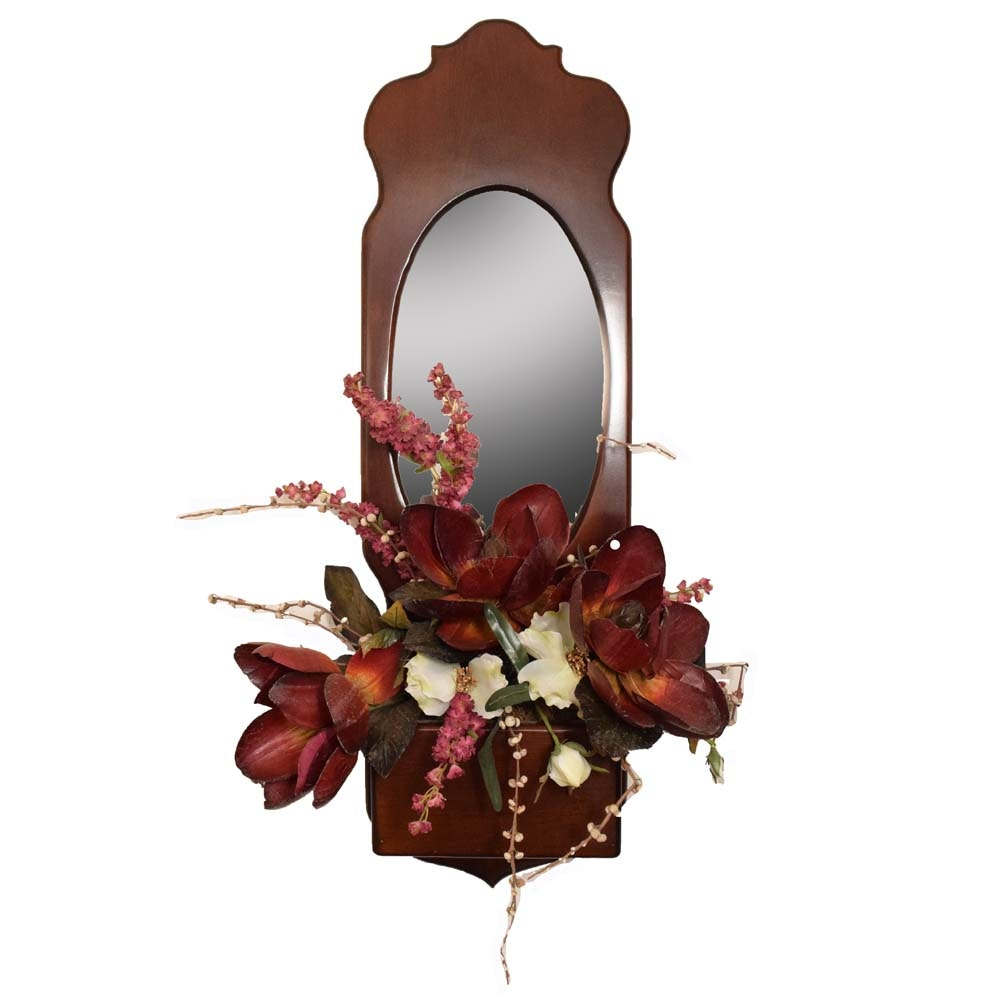 Cherry Wall Mirror With a Planter