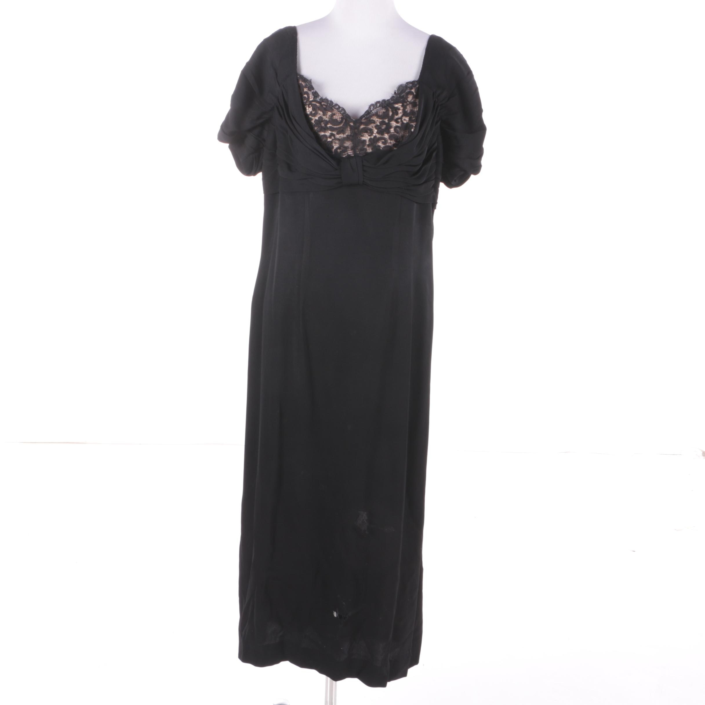 1940s Vintage Black Silk and Lace Drape Evening Dress