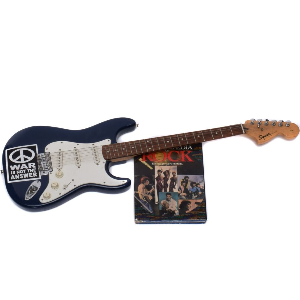 """Fender Squier Strat Electric Guitar with """"The Encyclopedia of Rock"""""""