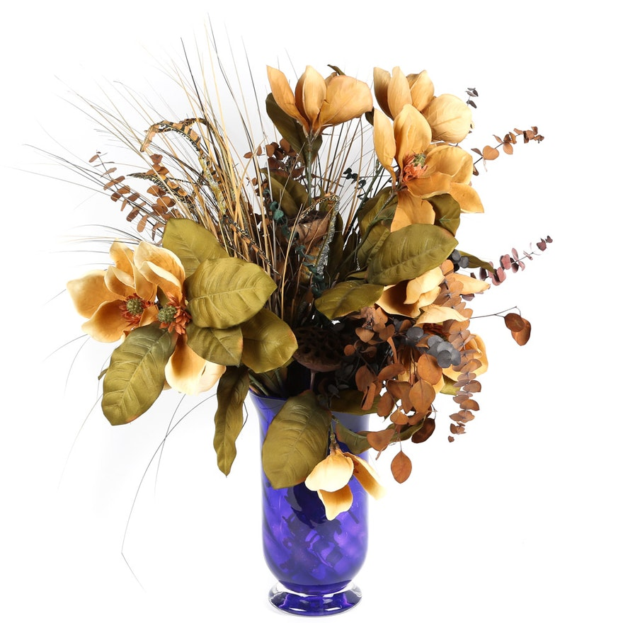 Artificial And Dried Floral Arrangement And Vase Ebth
