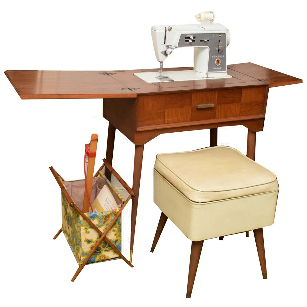 Mid Century Modern Sewing Cabinet, Stool, and Singer Sewing Machine