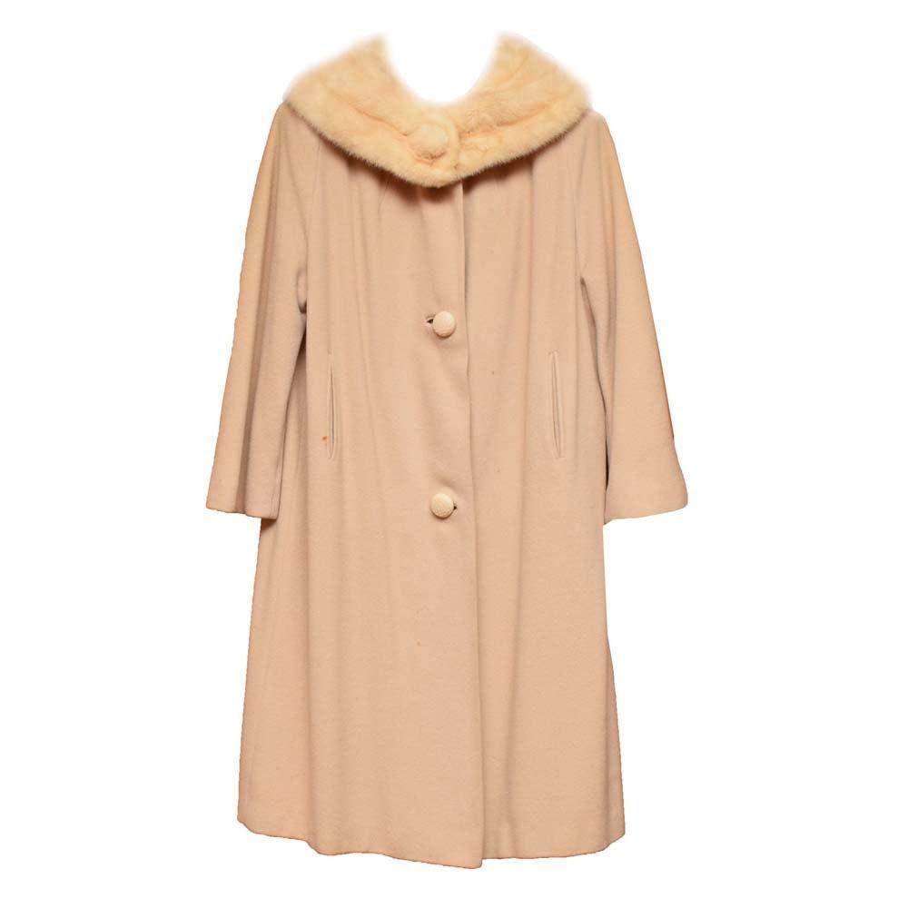 Vintage Cashmere Coat with Mink Fur Collar
