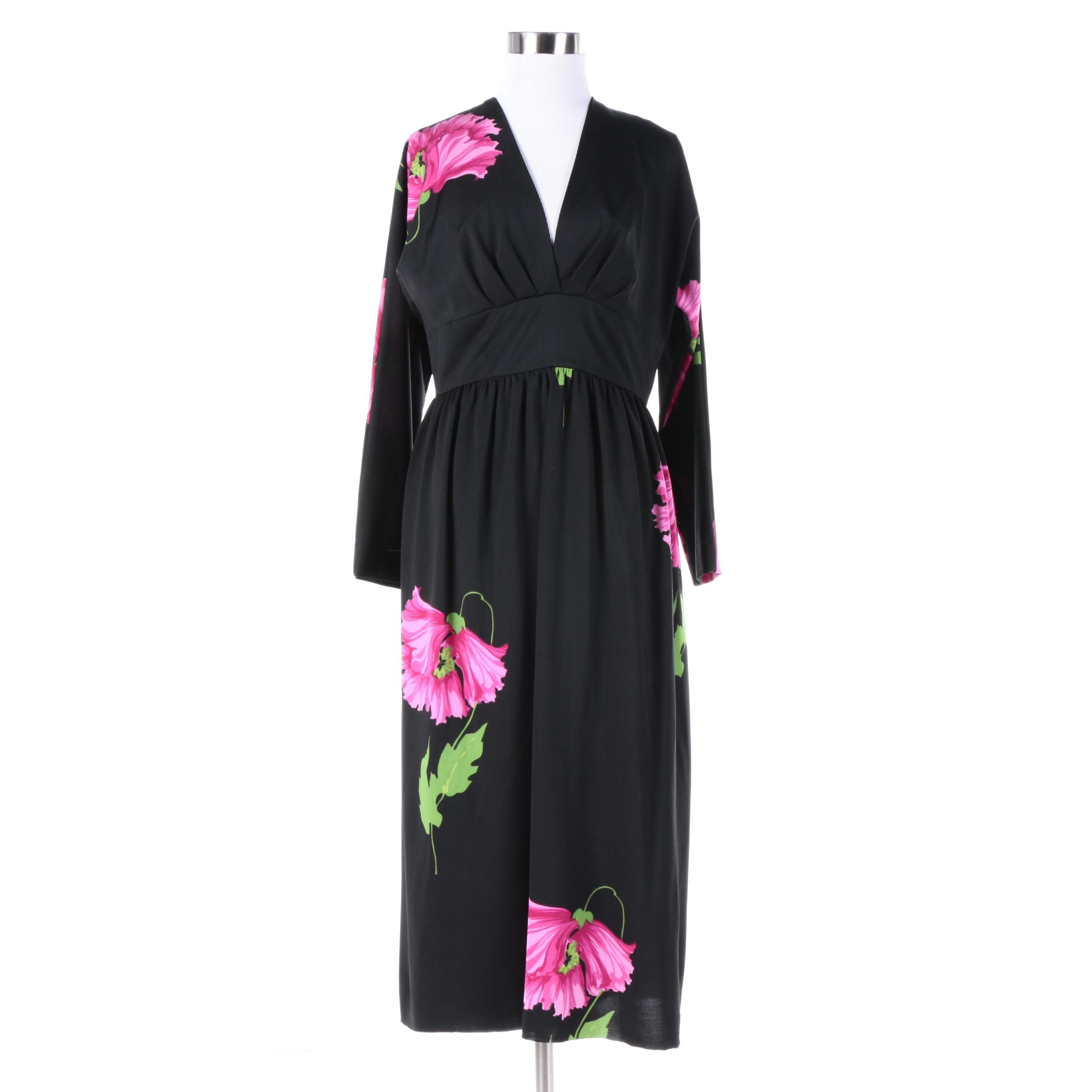 1970s Shannon Rodgers for Jerry Silverman Black Floral Empire Waist Dress