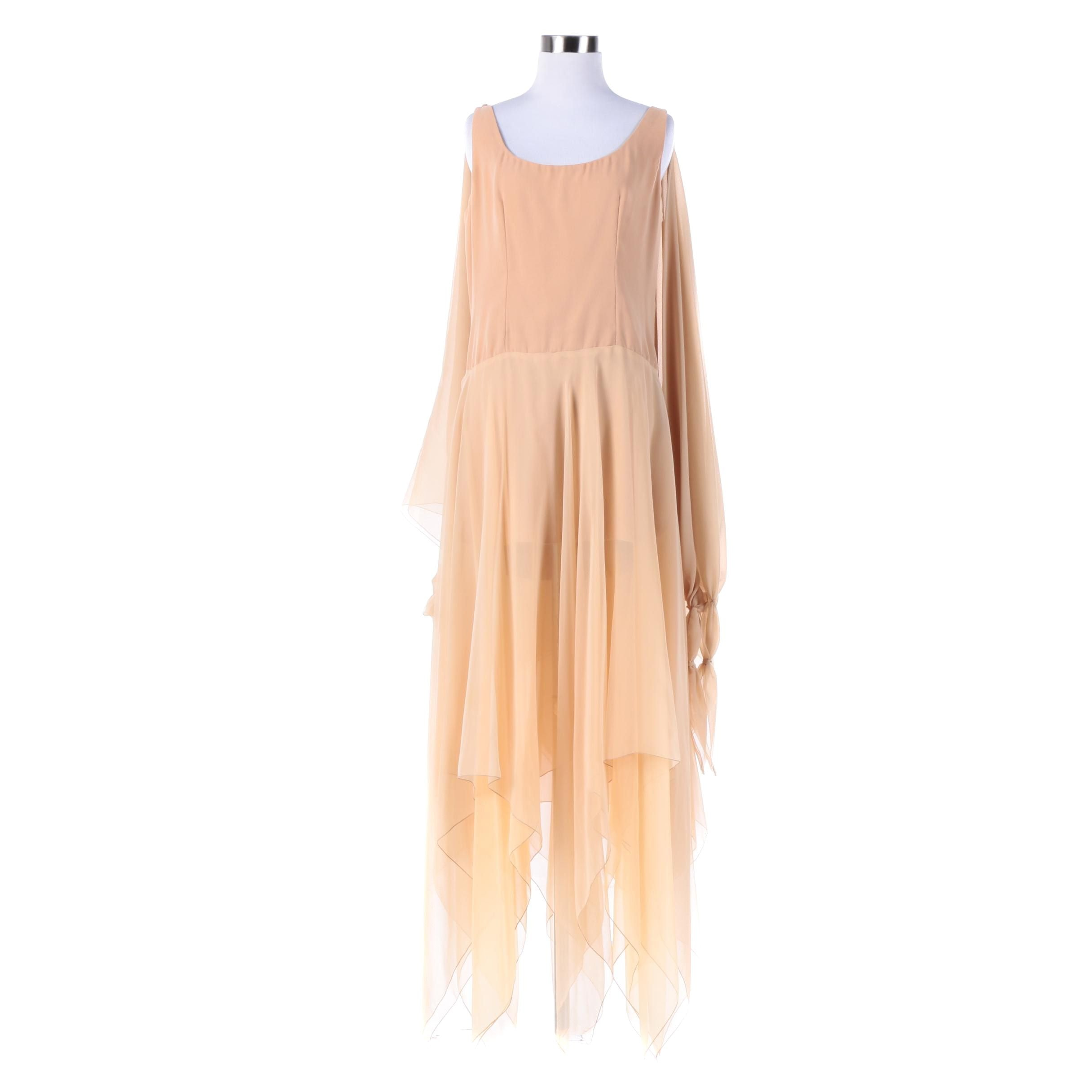1970s Vintage Bob Mackie Ray Aghayan Peach Chiffon Grecian Drape Evening Dress