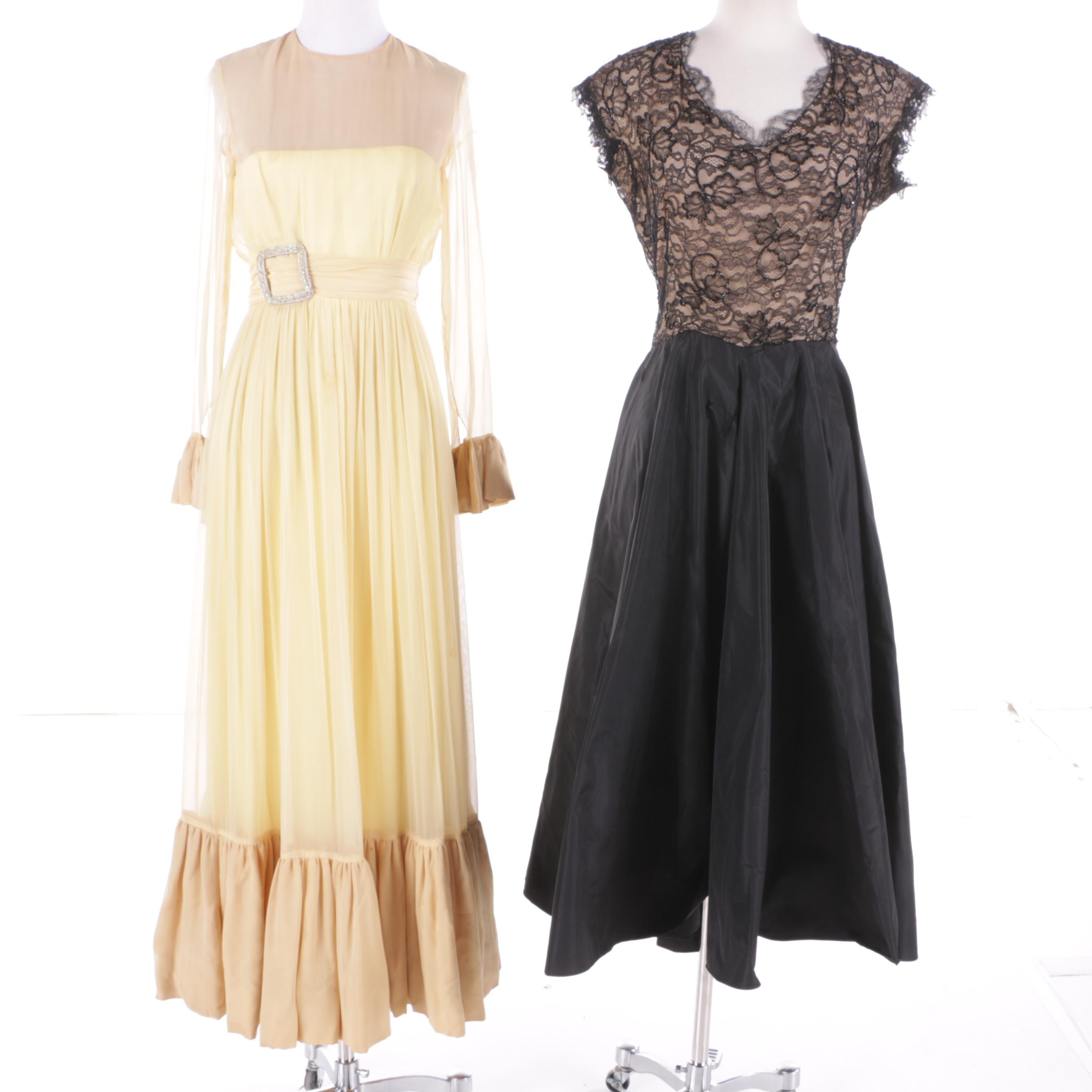 1950s & 1960s Lace, Beading, Chiffon, and Rhinestone Dresses