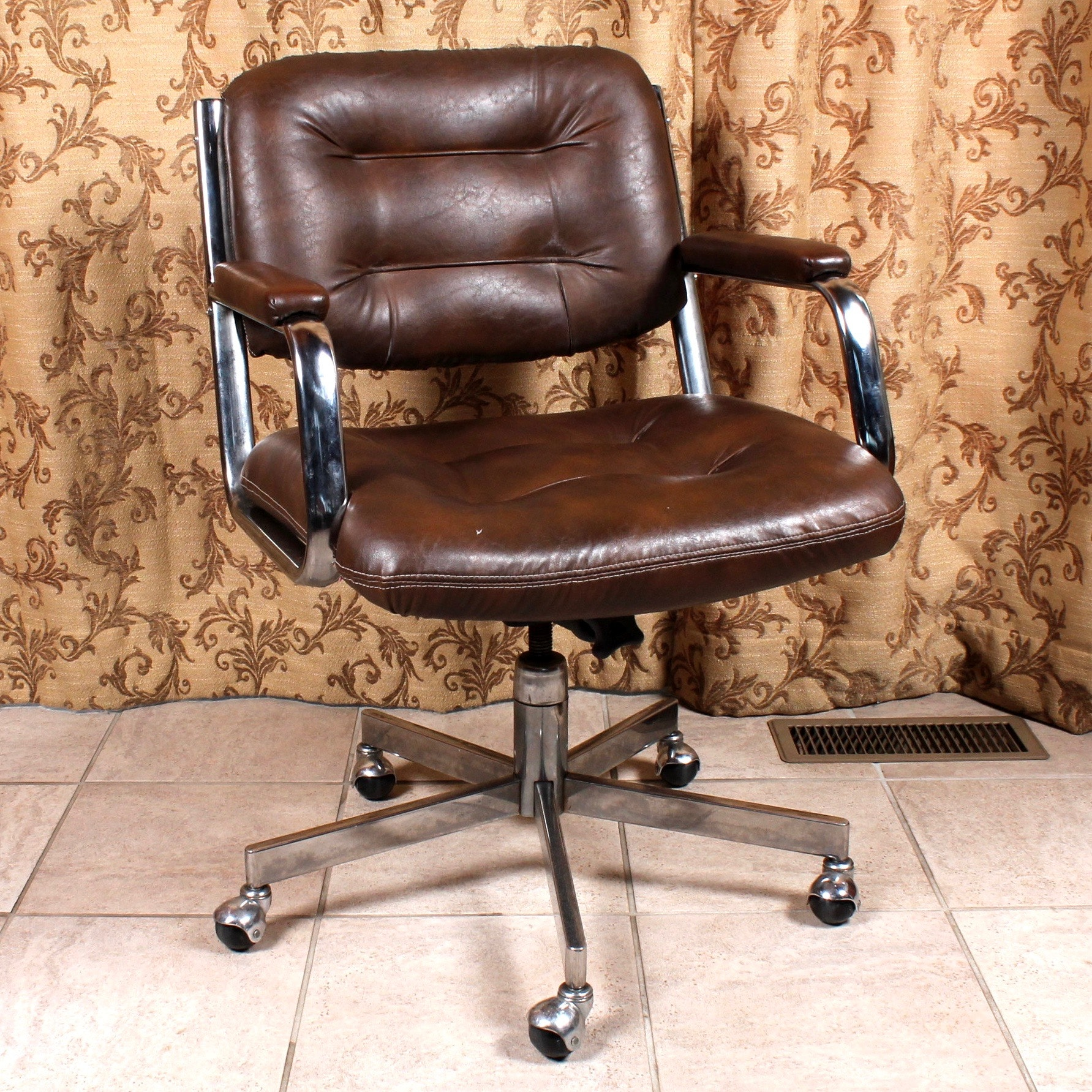 Vintage Style Faux Leather Upholstered Office Chair ...