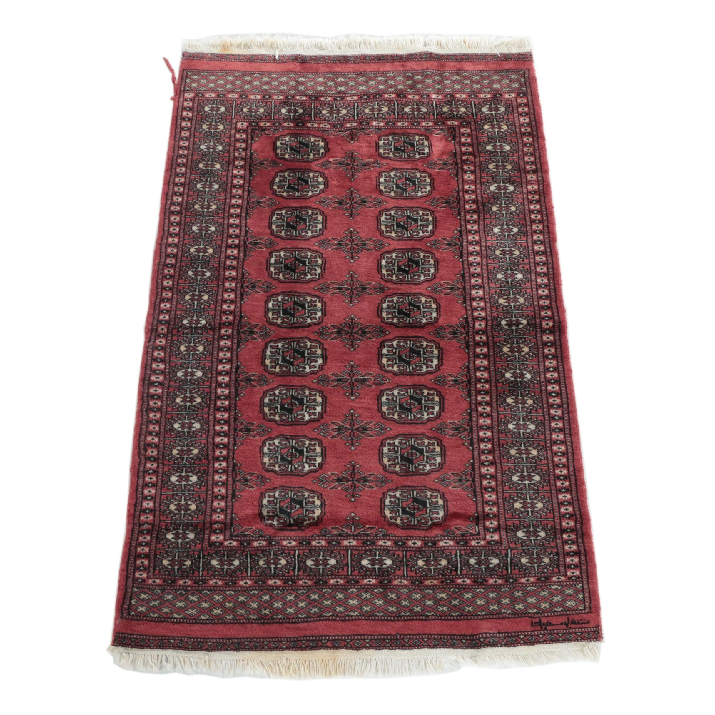 Hand-Knotted Pakistani Bohkara Wool Accent Rug