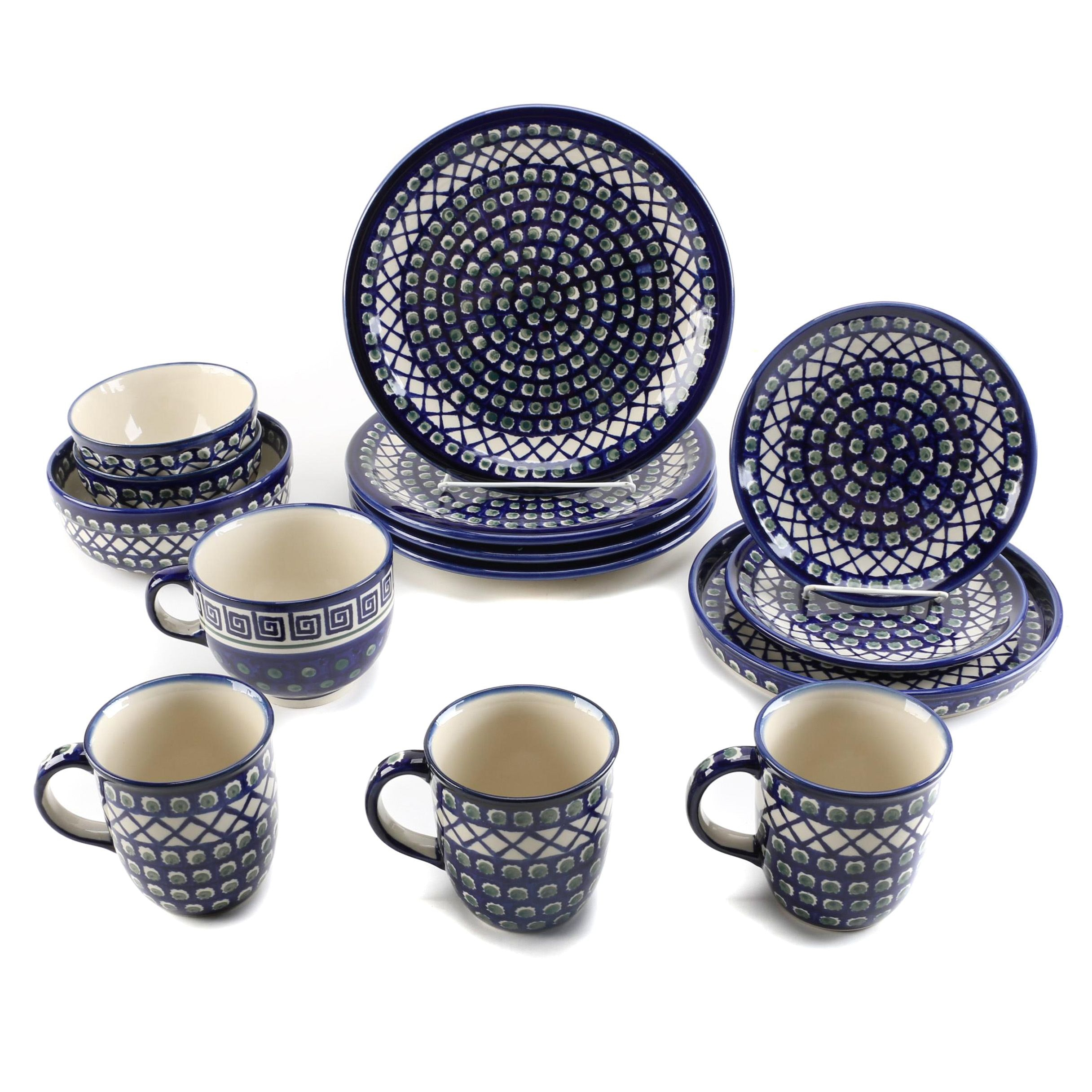 "Boleslawiec ""Lattice Peacock"" Pottery Tableware Hand Made in Poland"