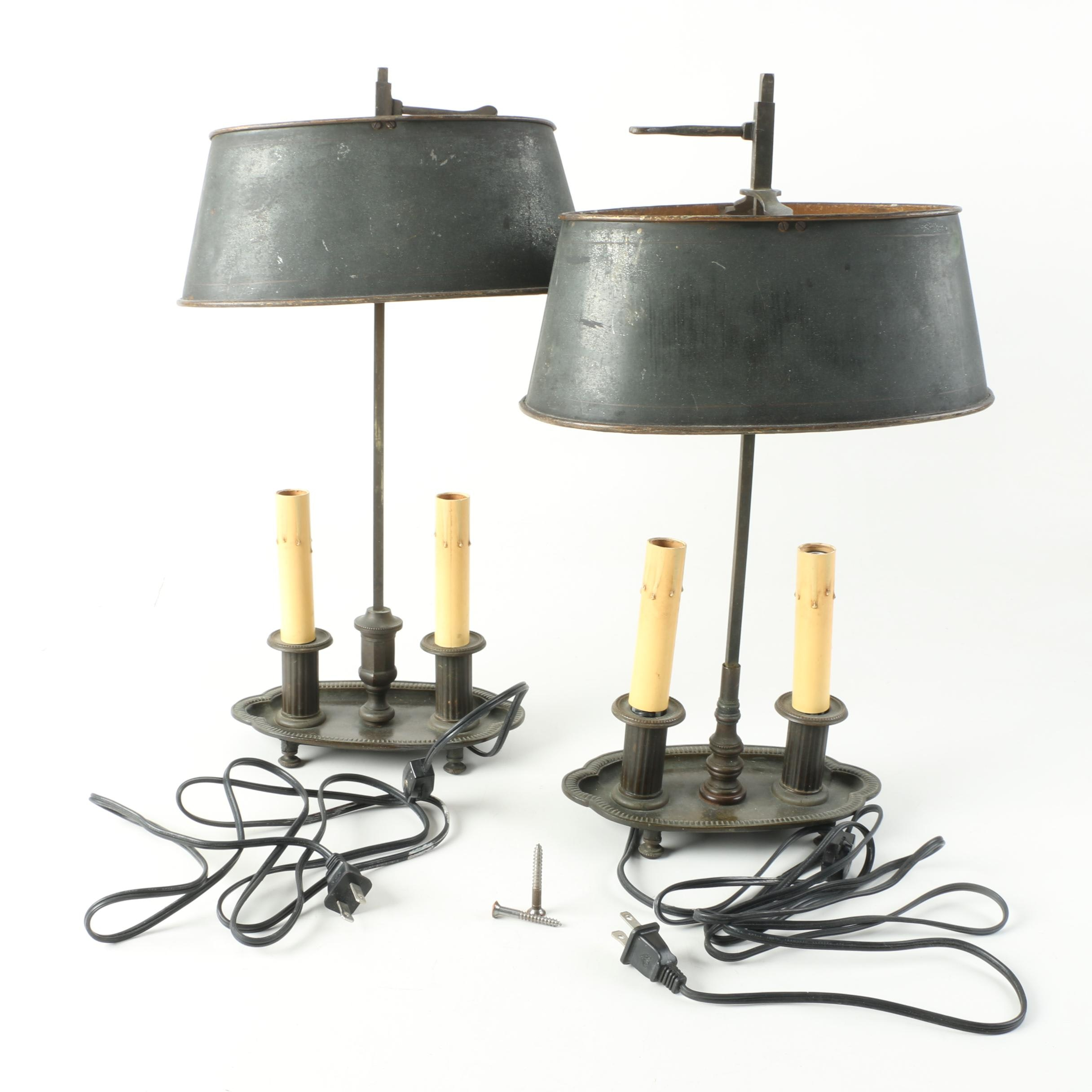 Pair of Vintage Bouillotte Candlestick Lamps