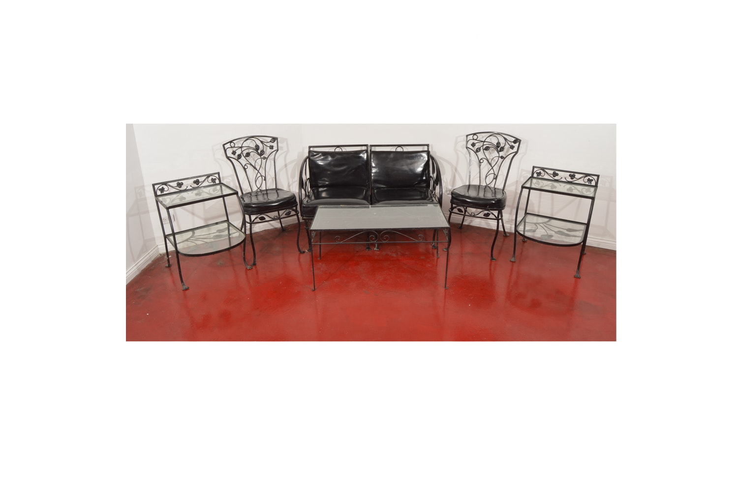 Painted Black Metal Patio Set