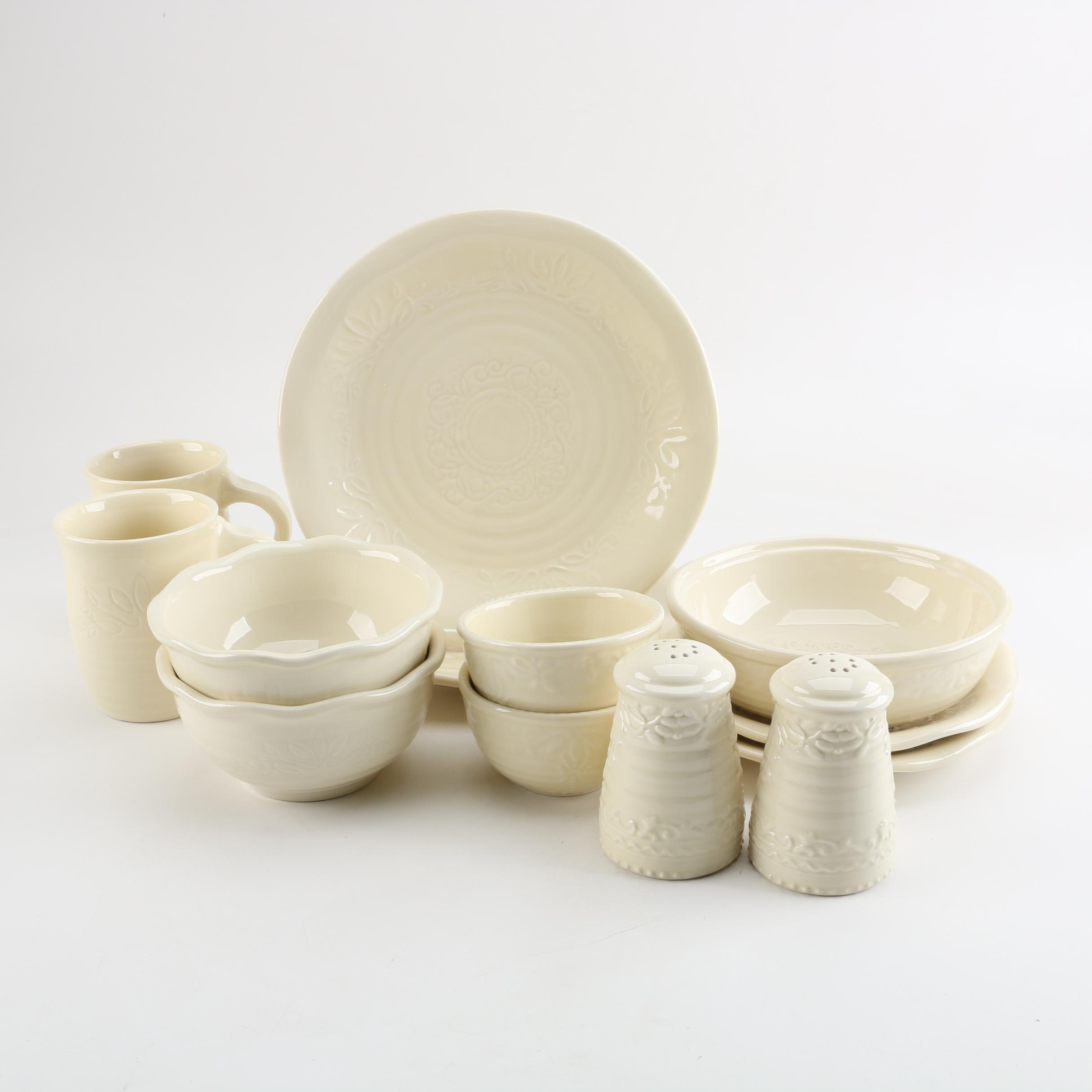 "InterAmerican ""Dash of That"" Cream Stoneware Dishes"