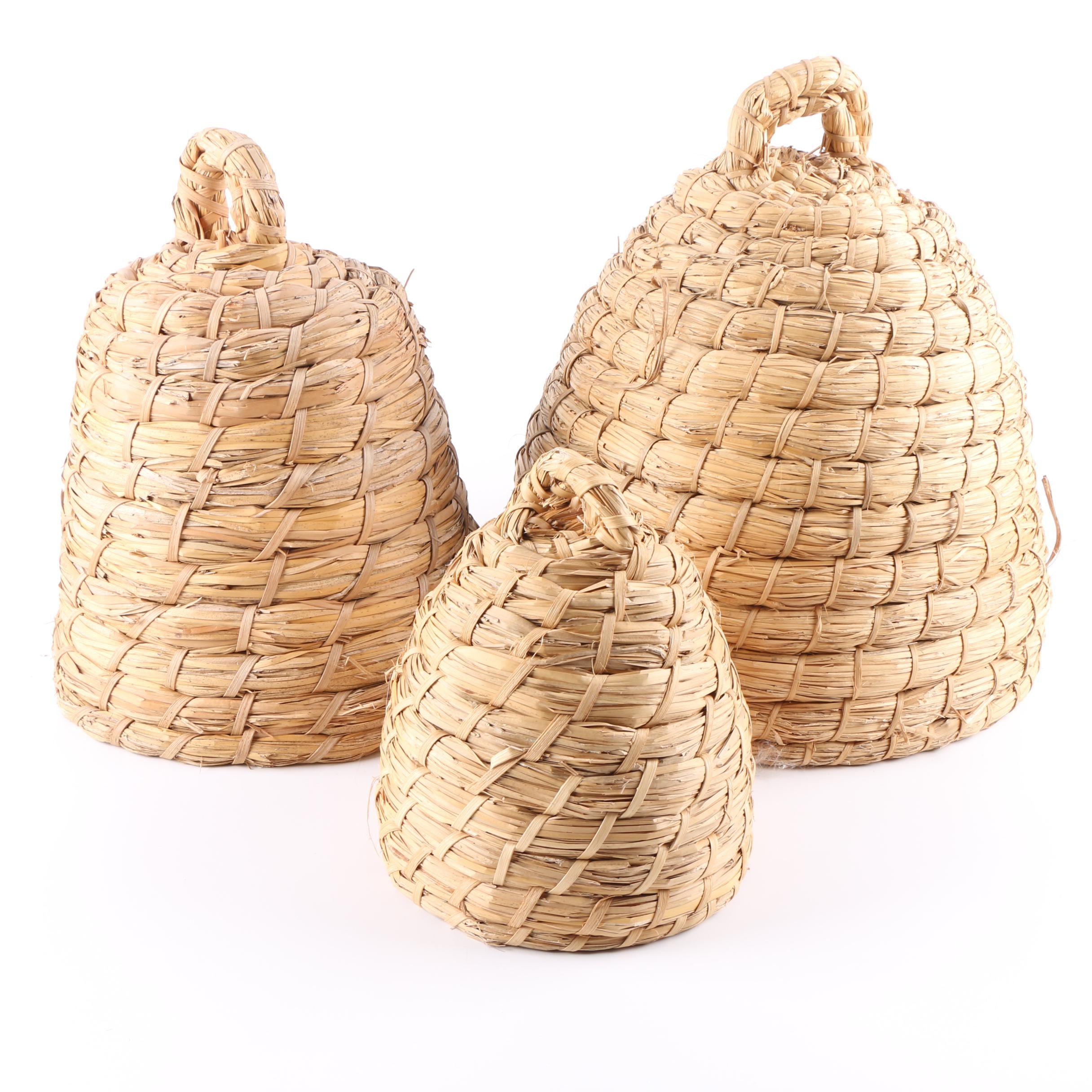 Raffia Beehive Baskets