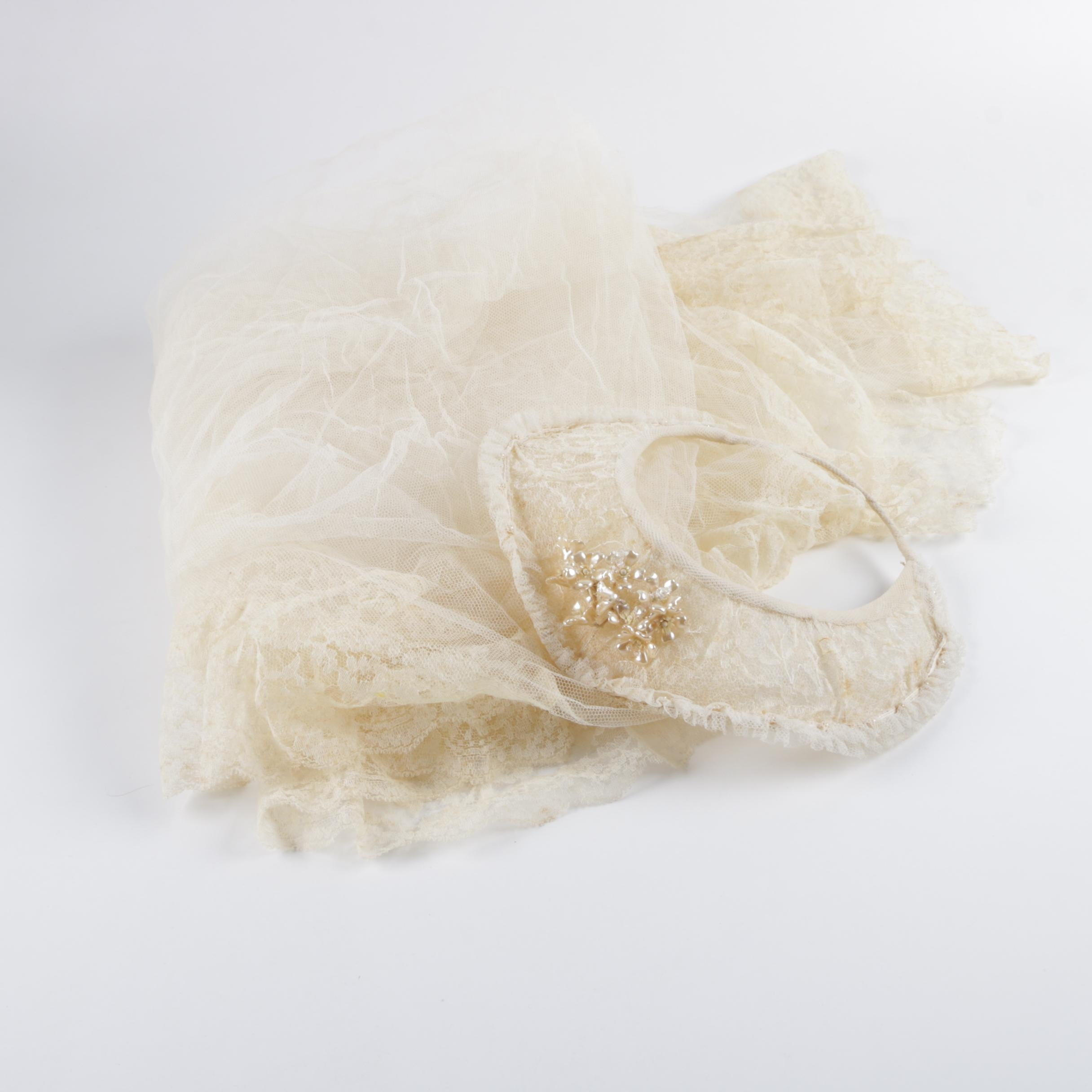 Vintage Veil with Crown and Lace