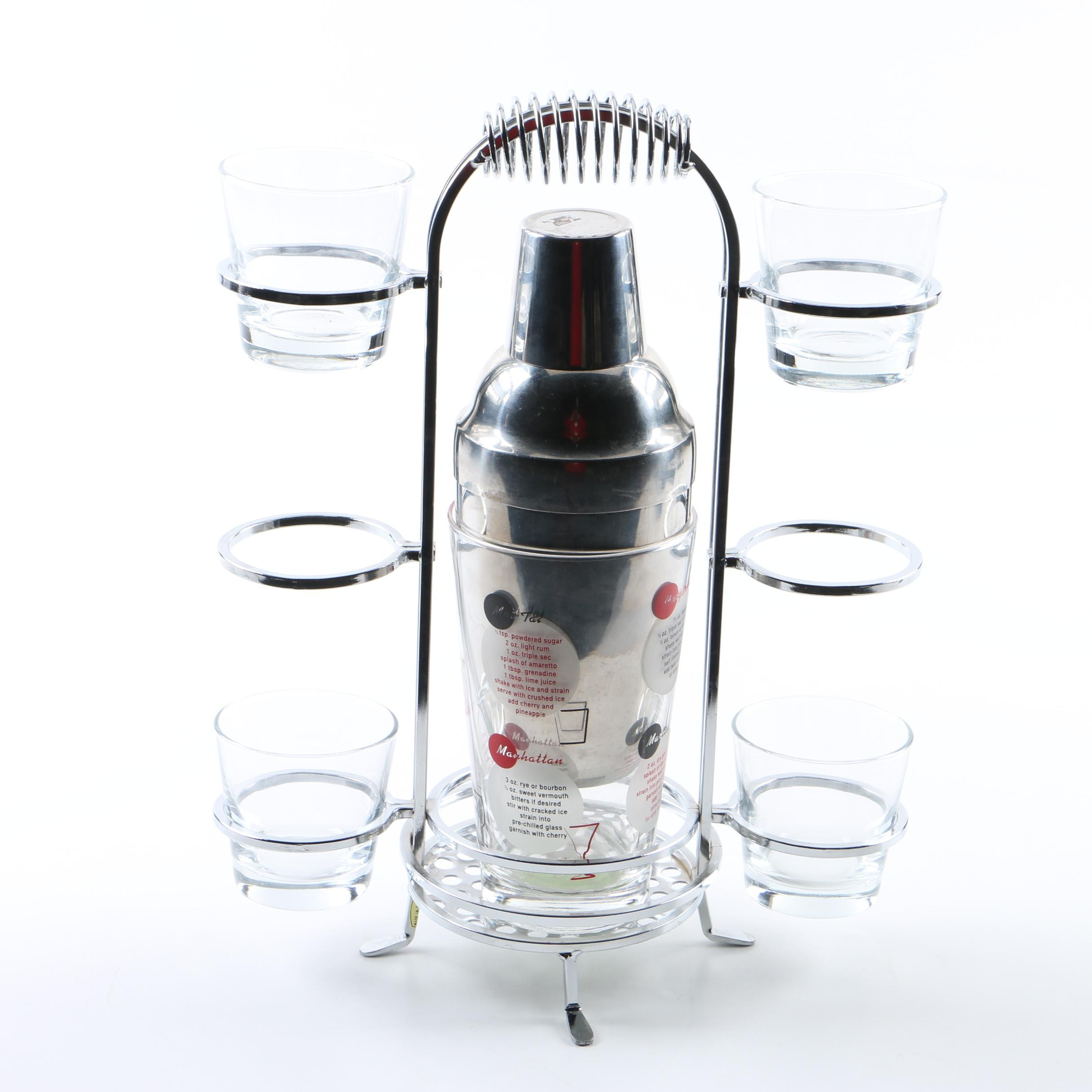 Cocktail Shaker with Stand and Glasses