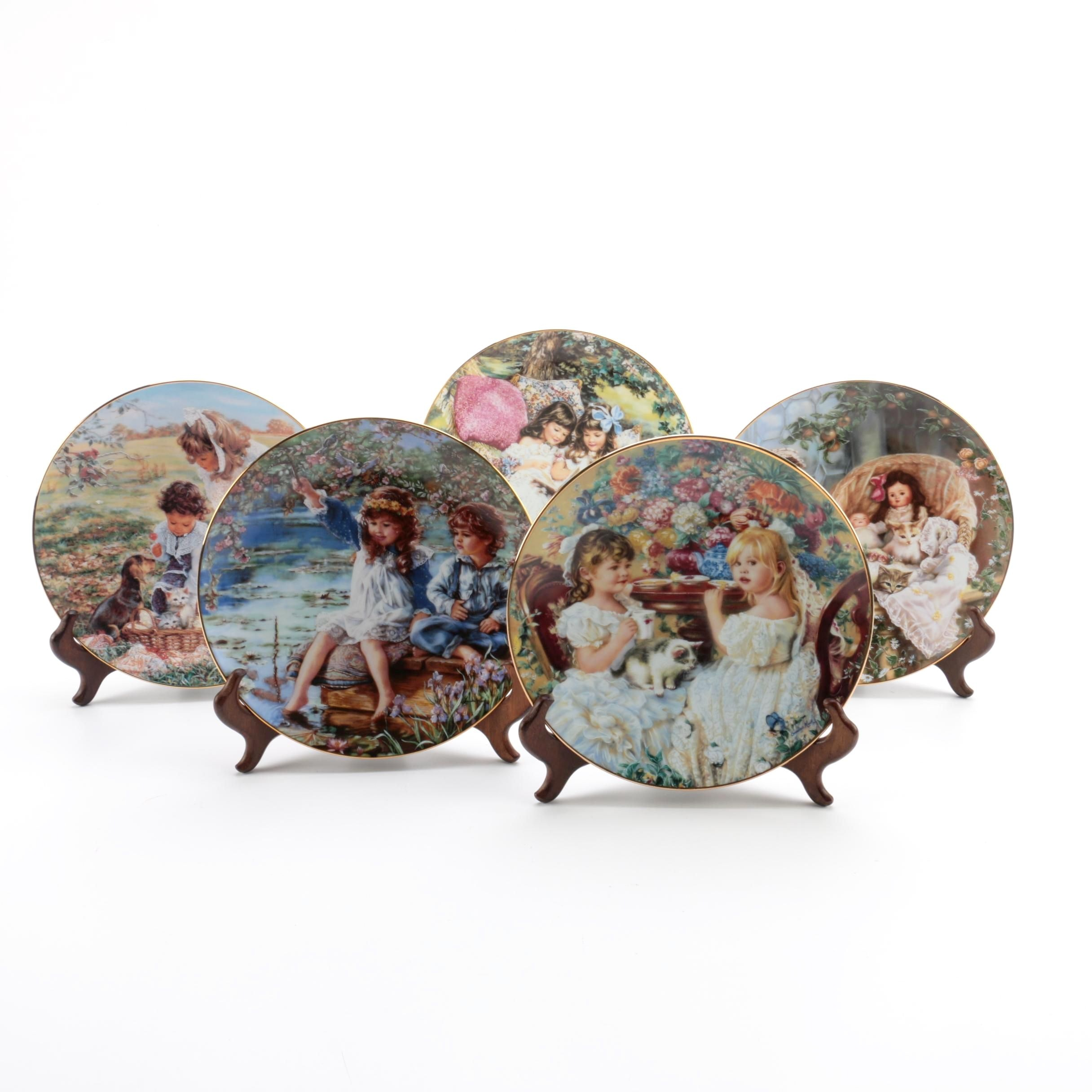 "Reco ""Hearts and Flowers From Sandra Kuck"" Series Collector Plates With Stands"