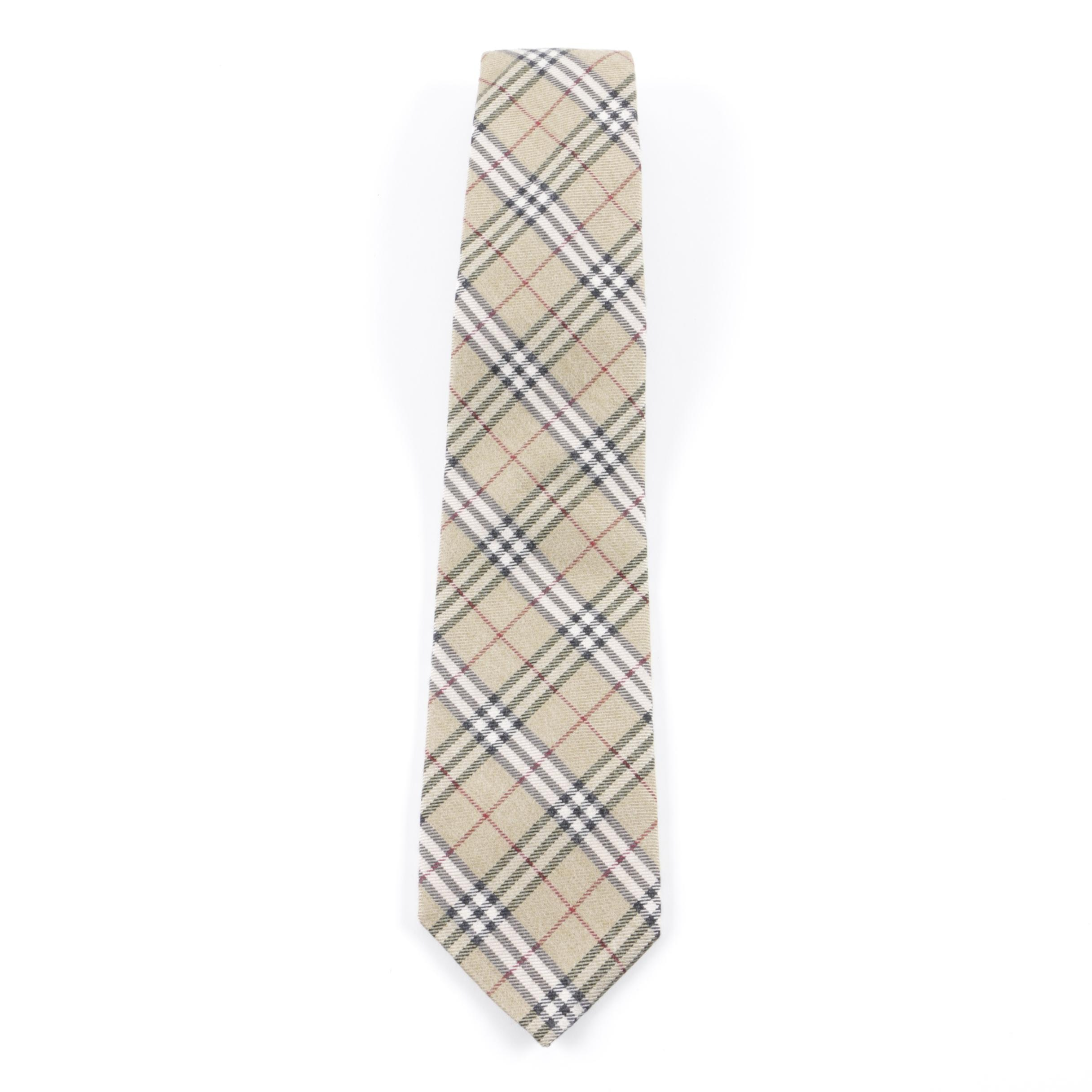 Burberry London Plaid Wool Blend Necktie
