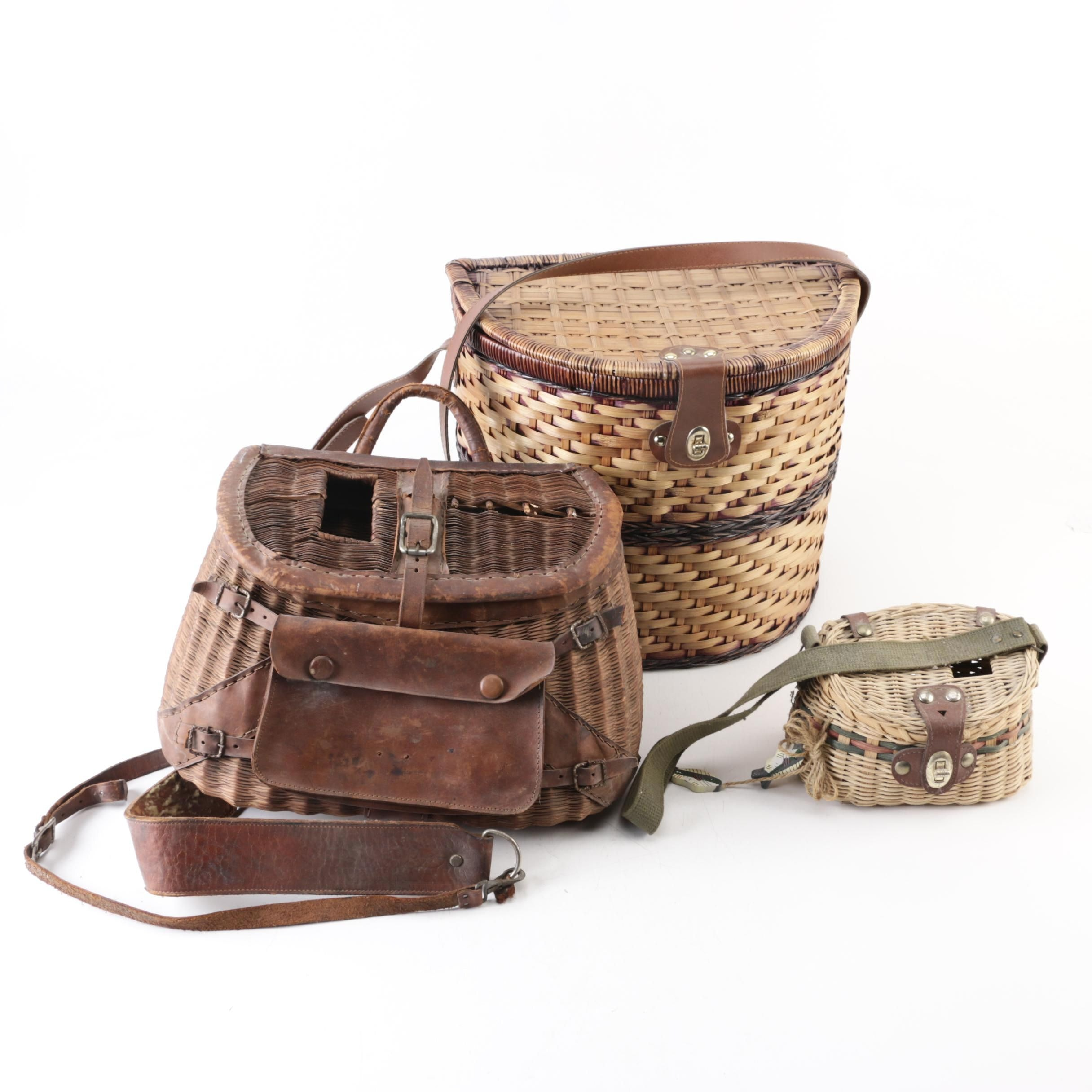 Vintage Creel Baskets and Picnic Baskets