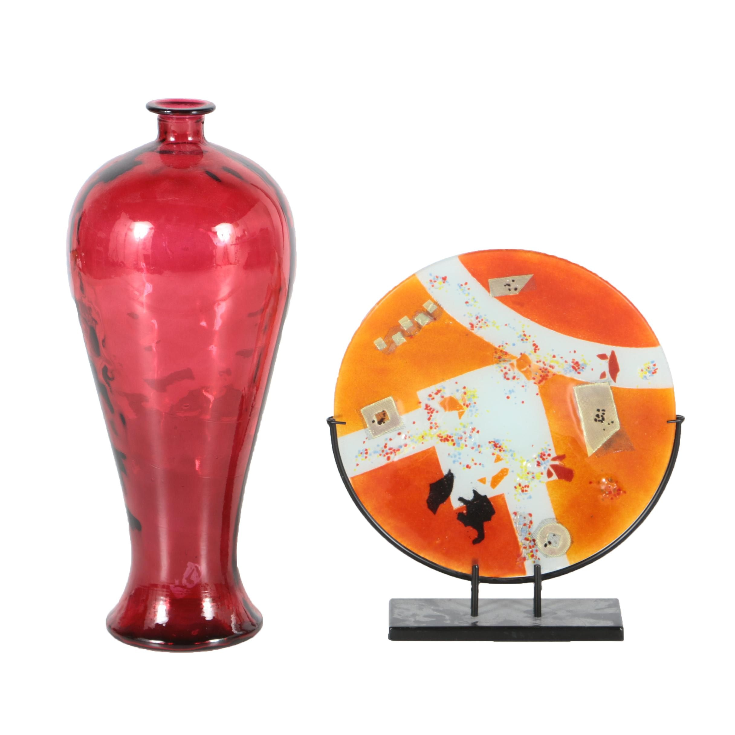 Fused Glass Plate with Stand and Large Red Glass Vase