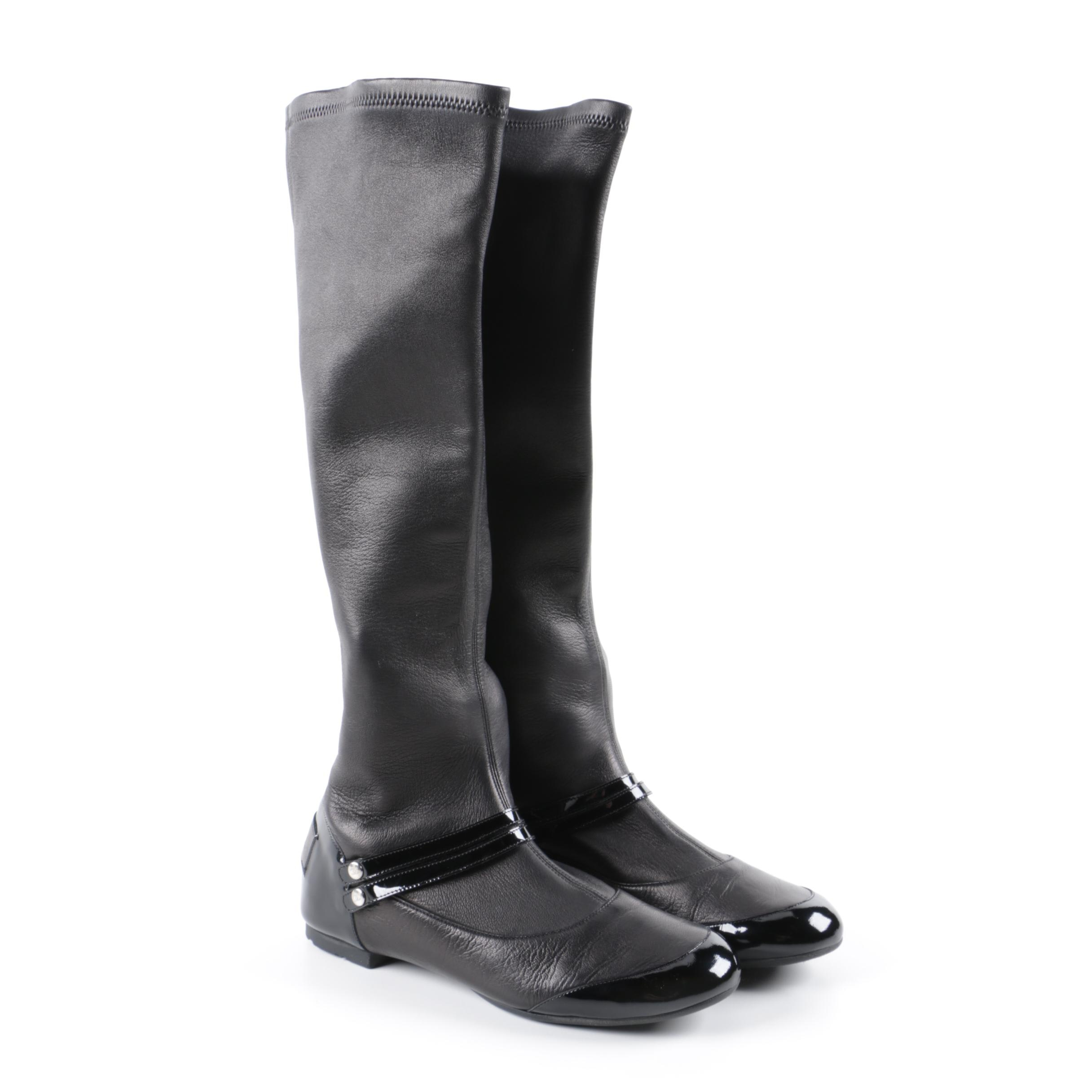 Chanel Tall Black Leather and Patent Leather Pull-On Boots