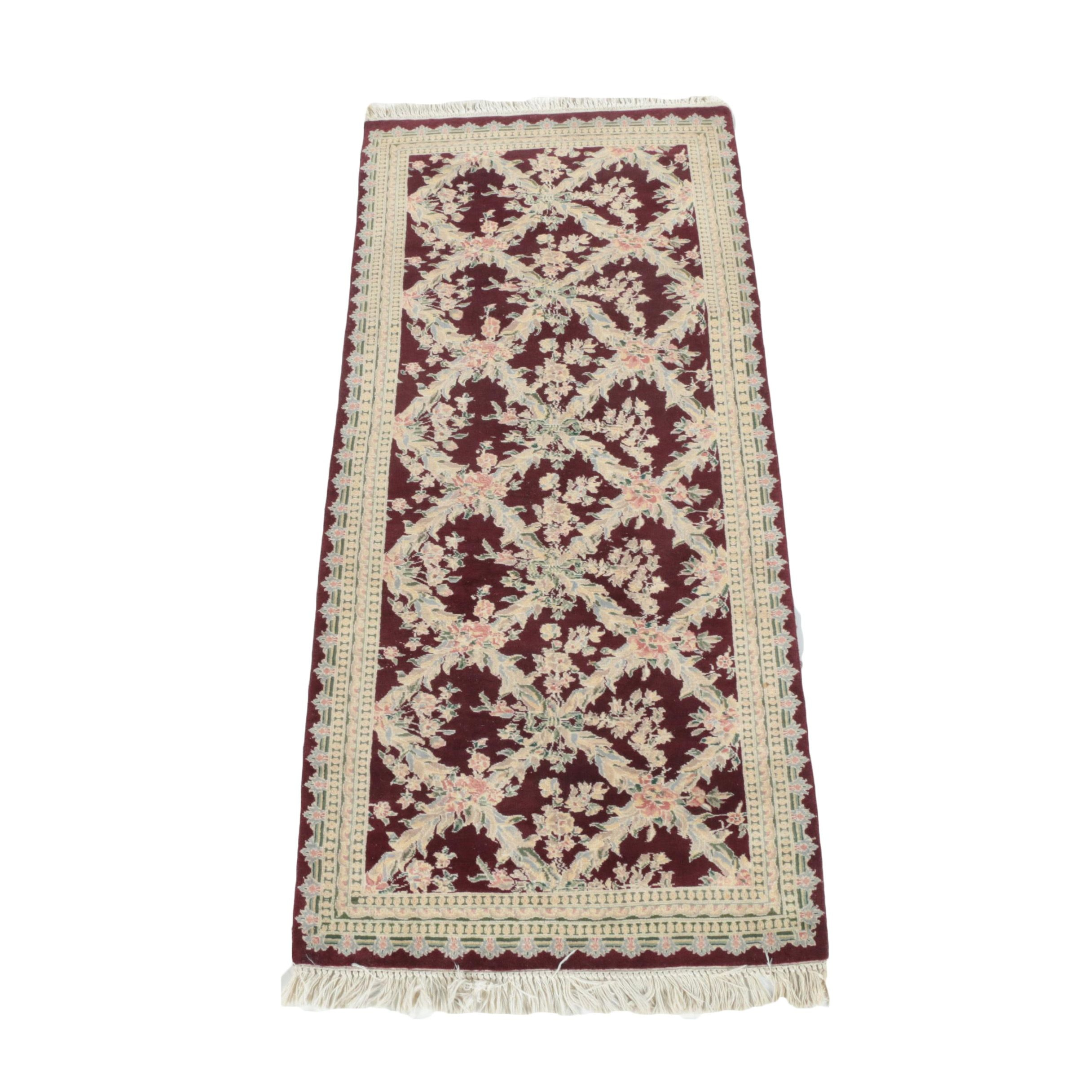 Hand-Knotted Floral Lattice Wool Area Rug