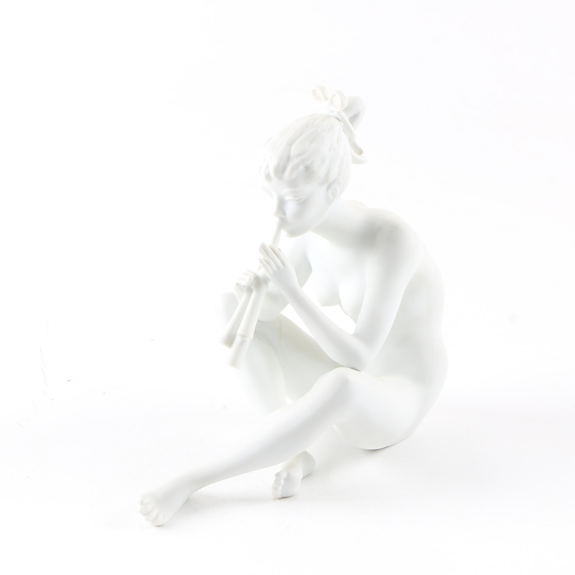 "Kaiser White Bisque ""Girl with Flute"" Figurine"