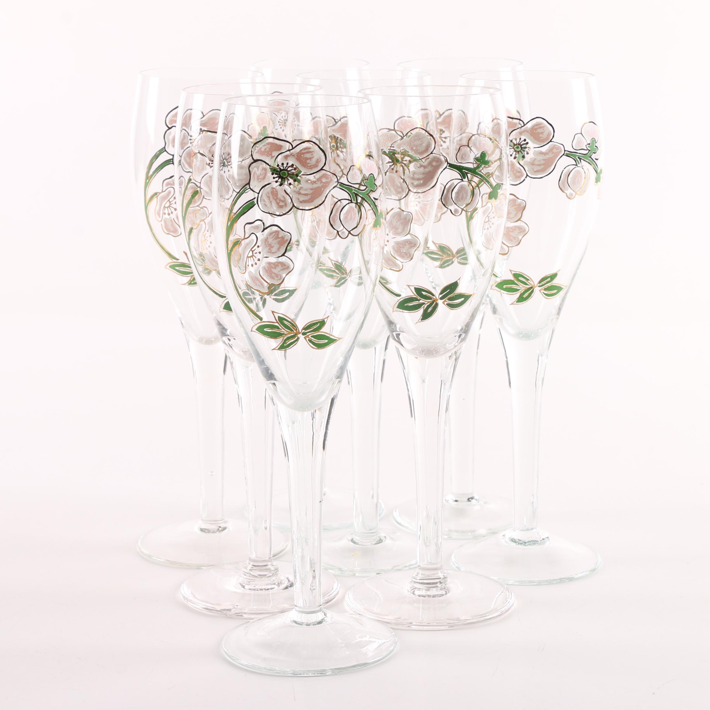 Hand Pained Glass Champagne Flutes
