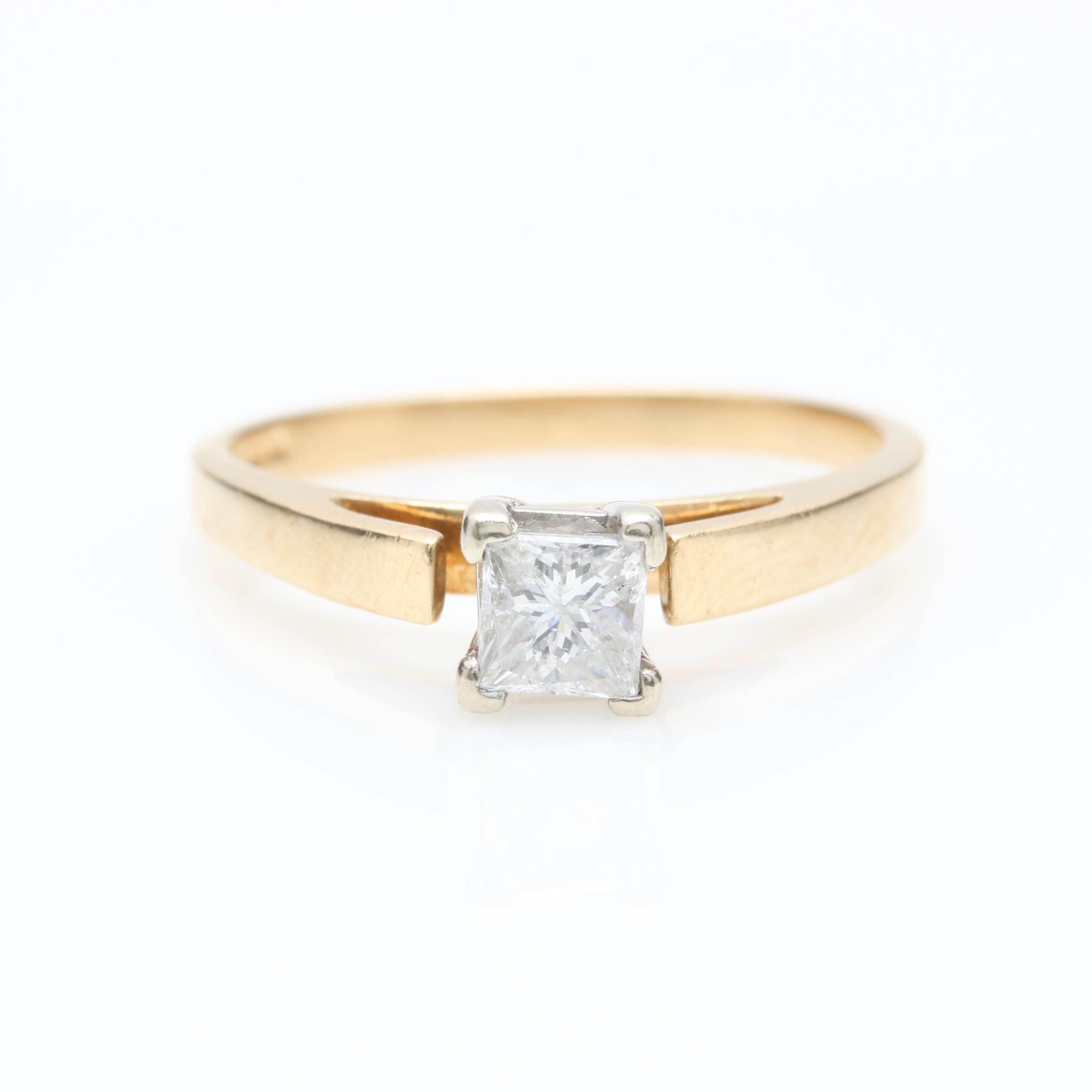Magic Glo 14K Yellow Gold Diamond Solitaire Ring