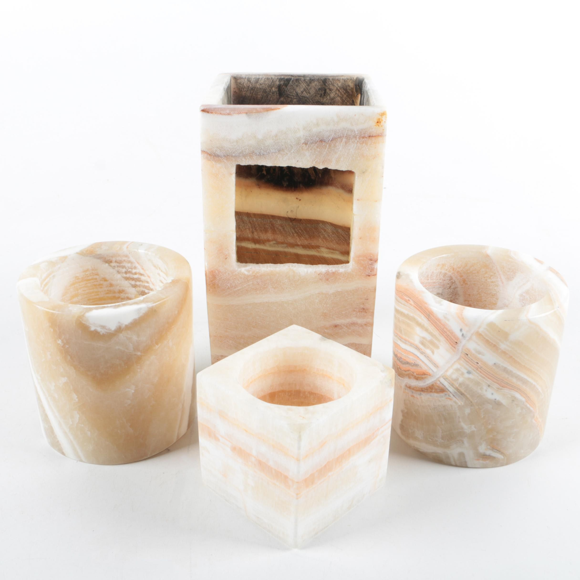 Banded Calcite Decor Vessels