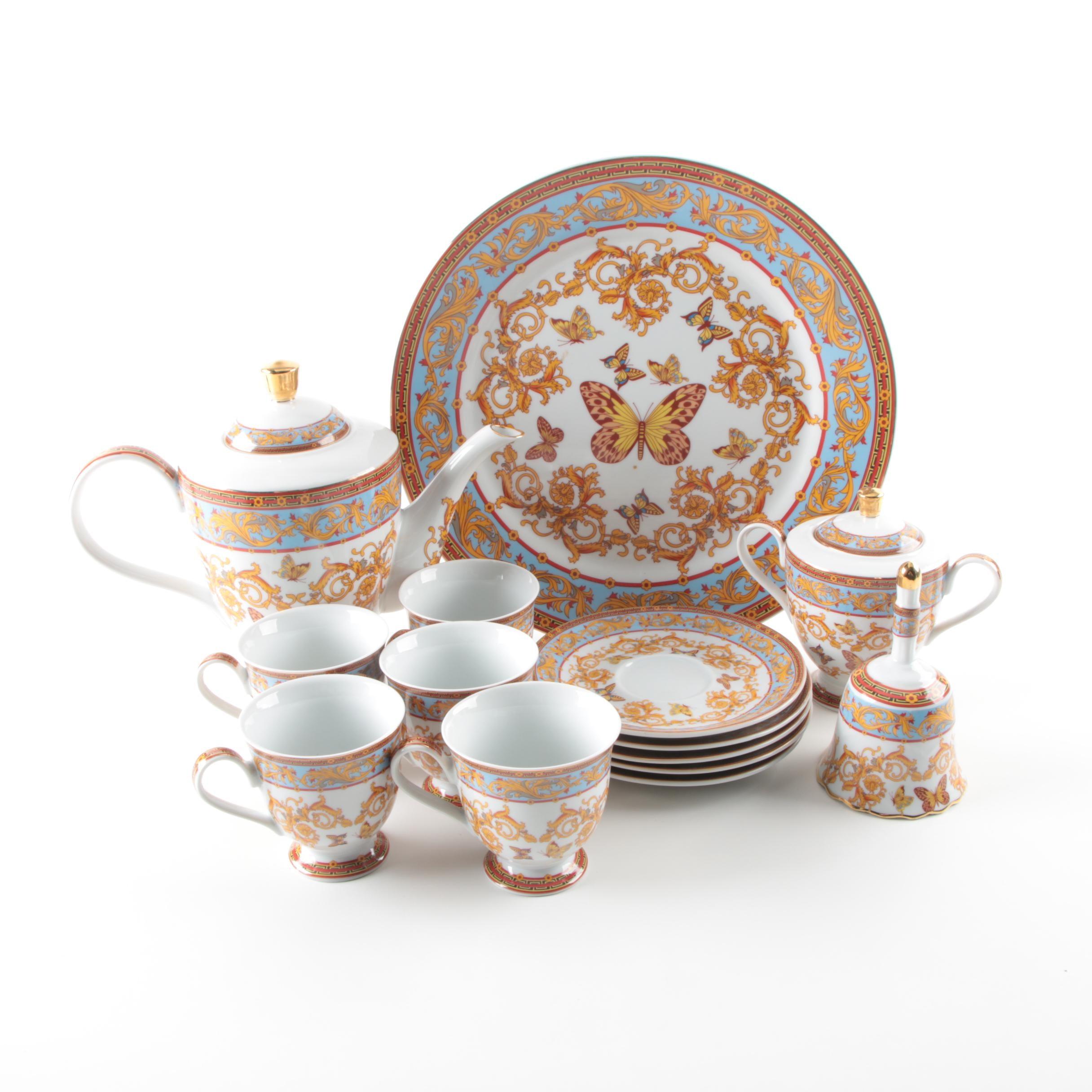 Sorelle Butterfly and Scroll Porcelain Dessert Serving Set