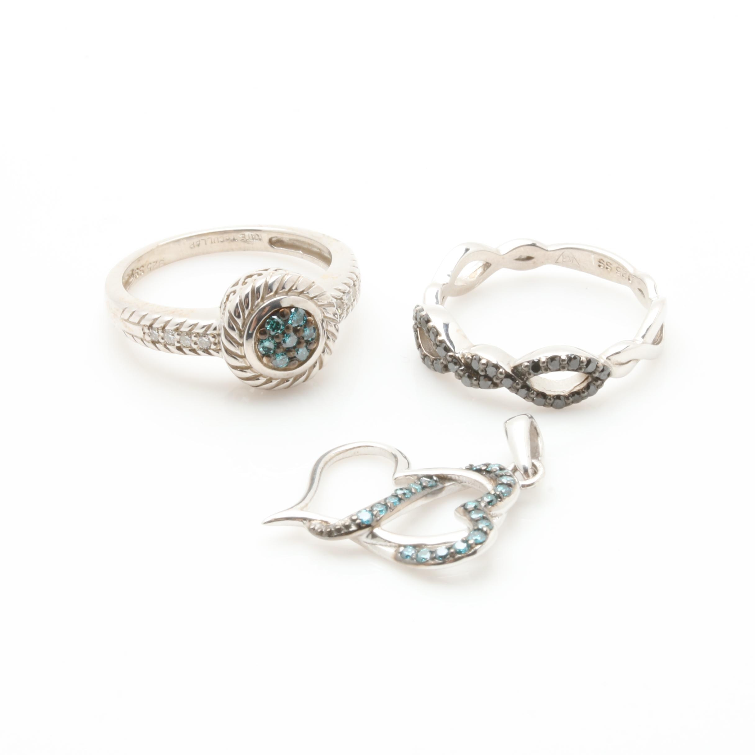 Sterling Silver Diamond Rings and Pendant Including Kate McCullar