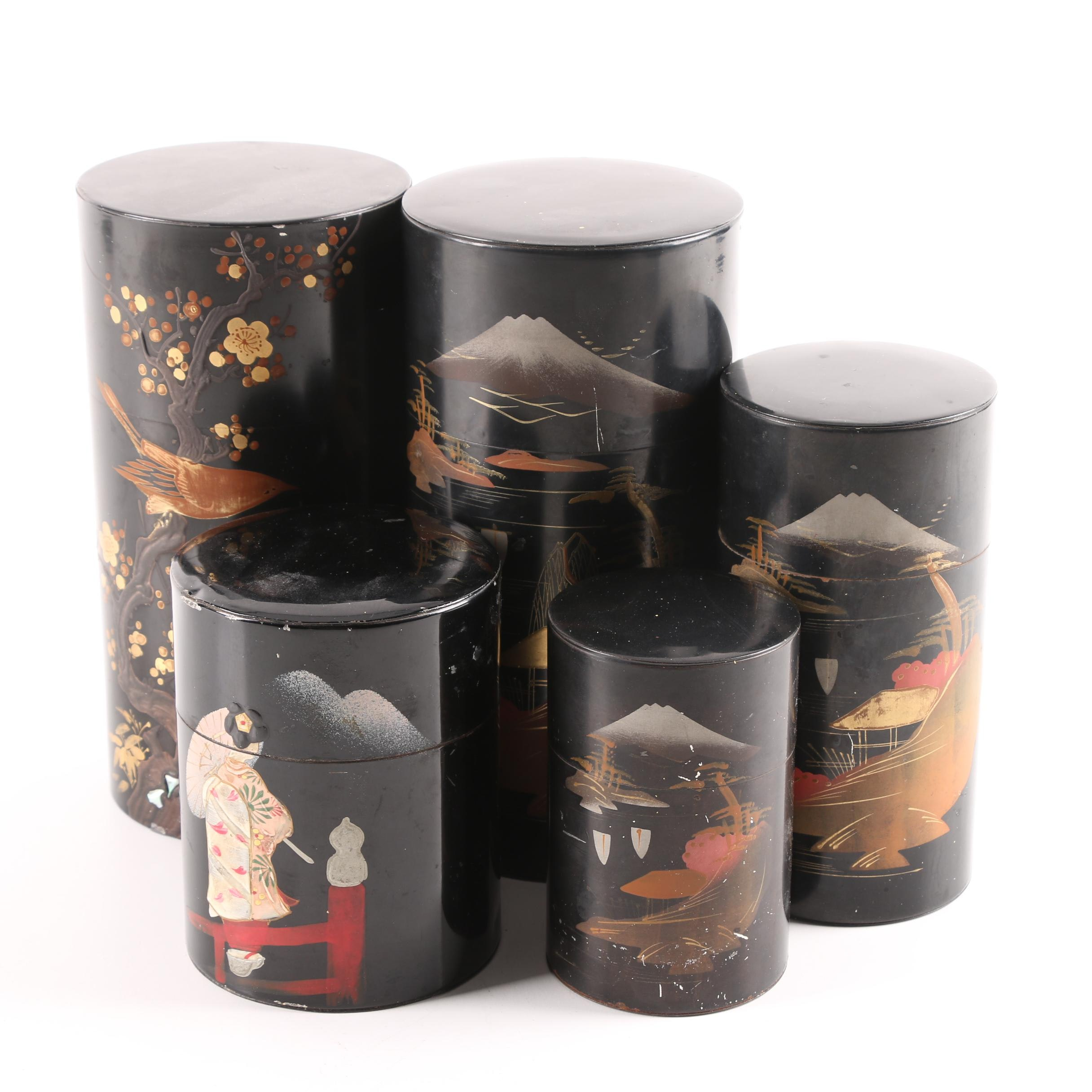 Japanese Abalone Metal Canisters