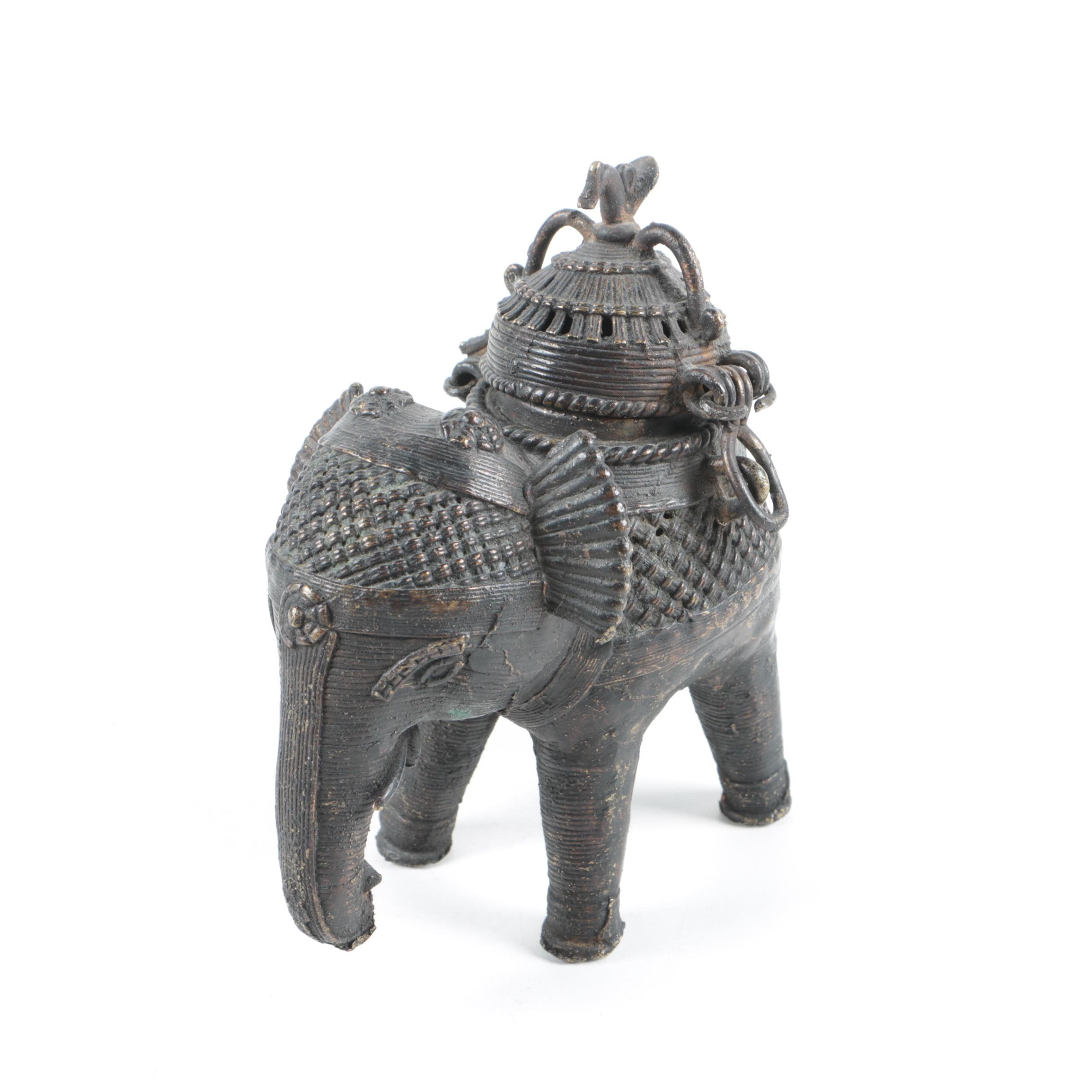 Metal South Asian Elephant Censer or Container