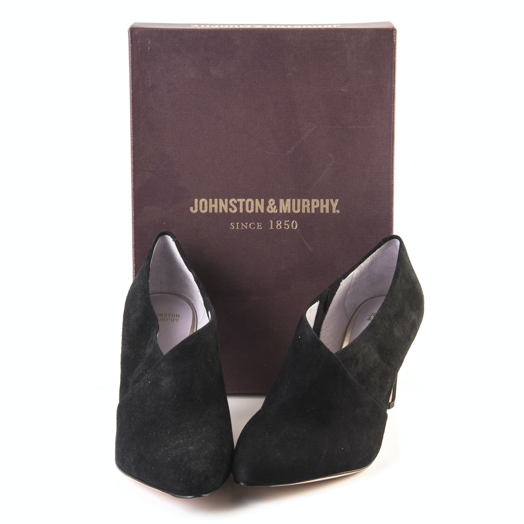"Johnston & Murphy ""Isabel"" Black Suede Booties"