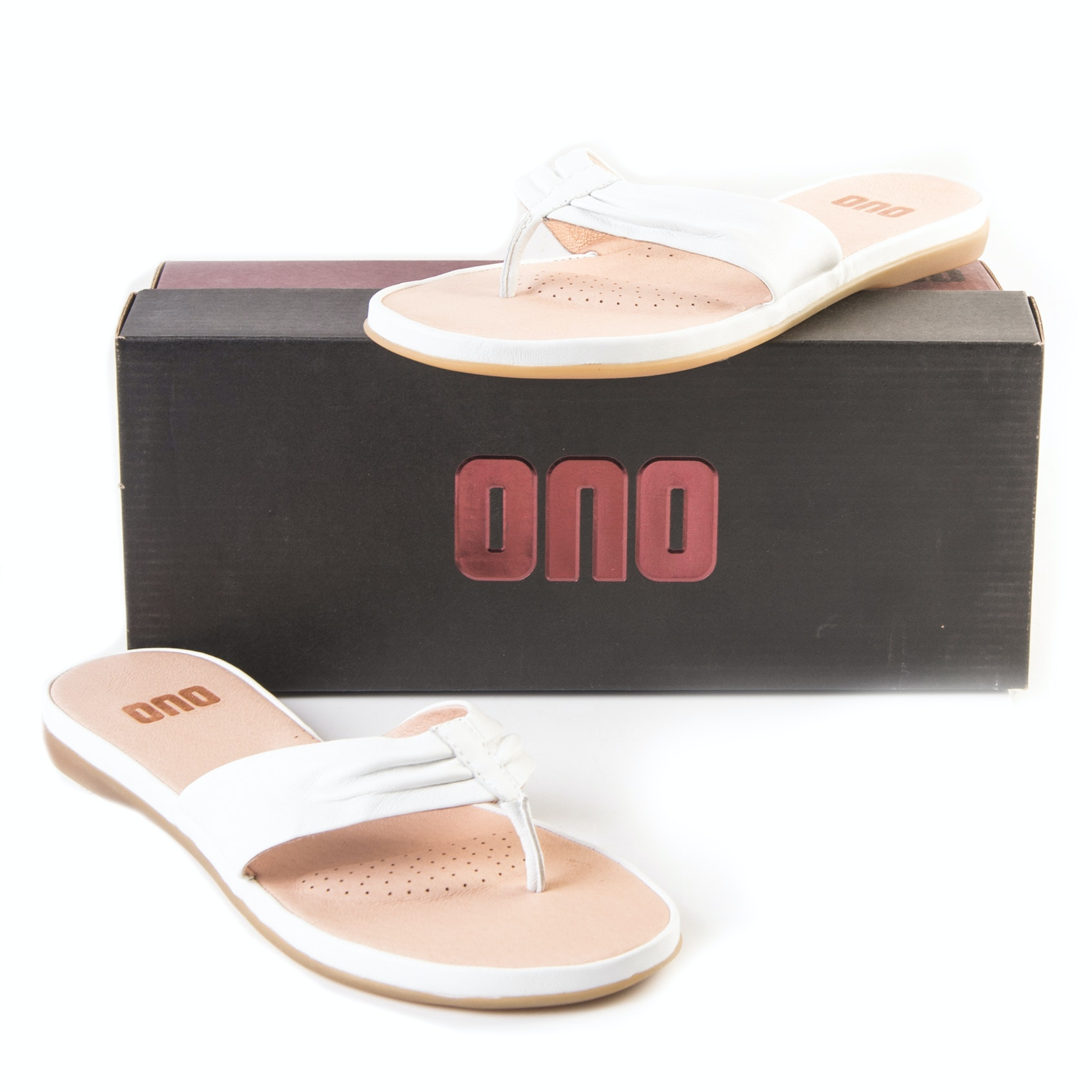 "Ono ""Liv"" White Leather Sandals"
