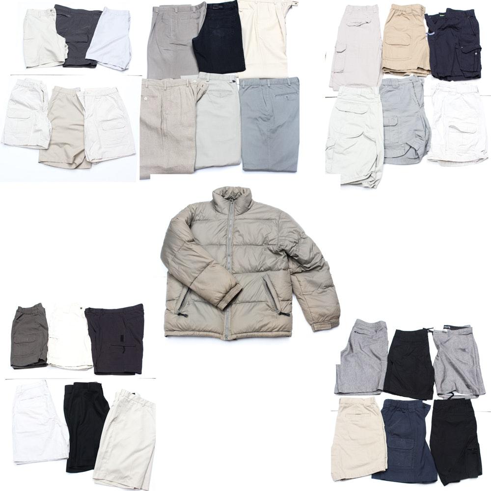 Men's Shorts, Pants, and Down Jacket