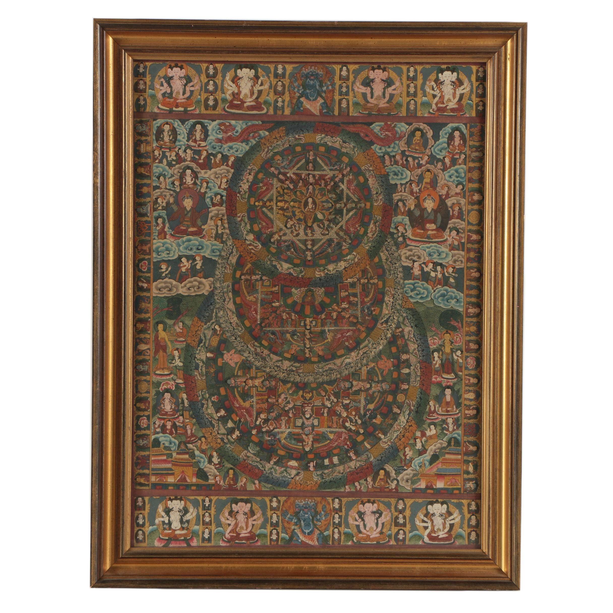 Tibetan Gouache Mandala Painting