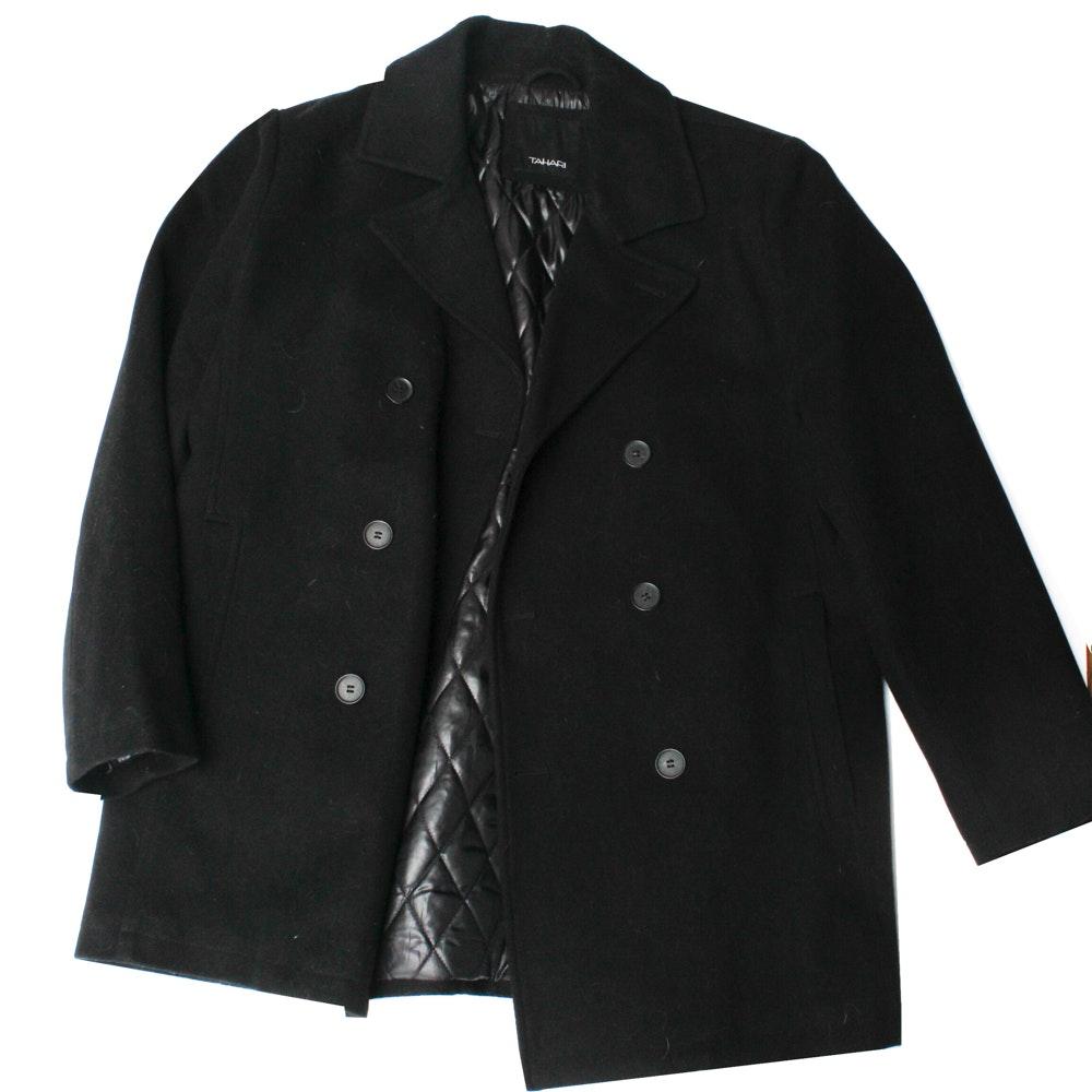 Men's Tahari Black Wool Coat