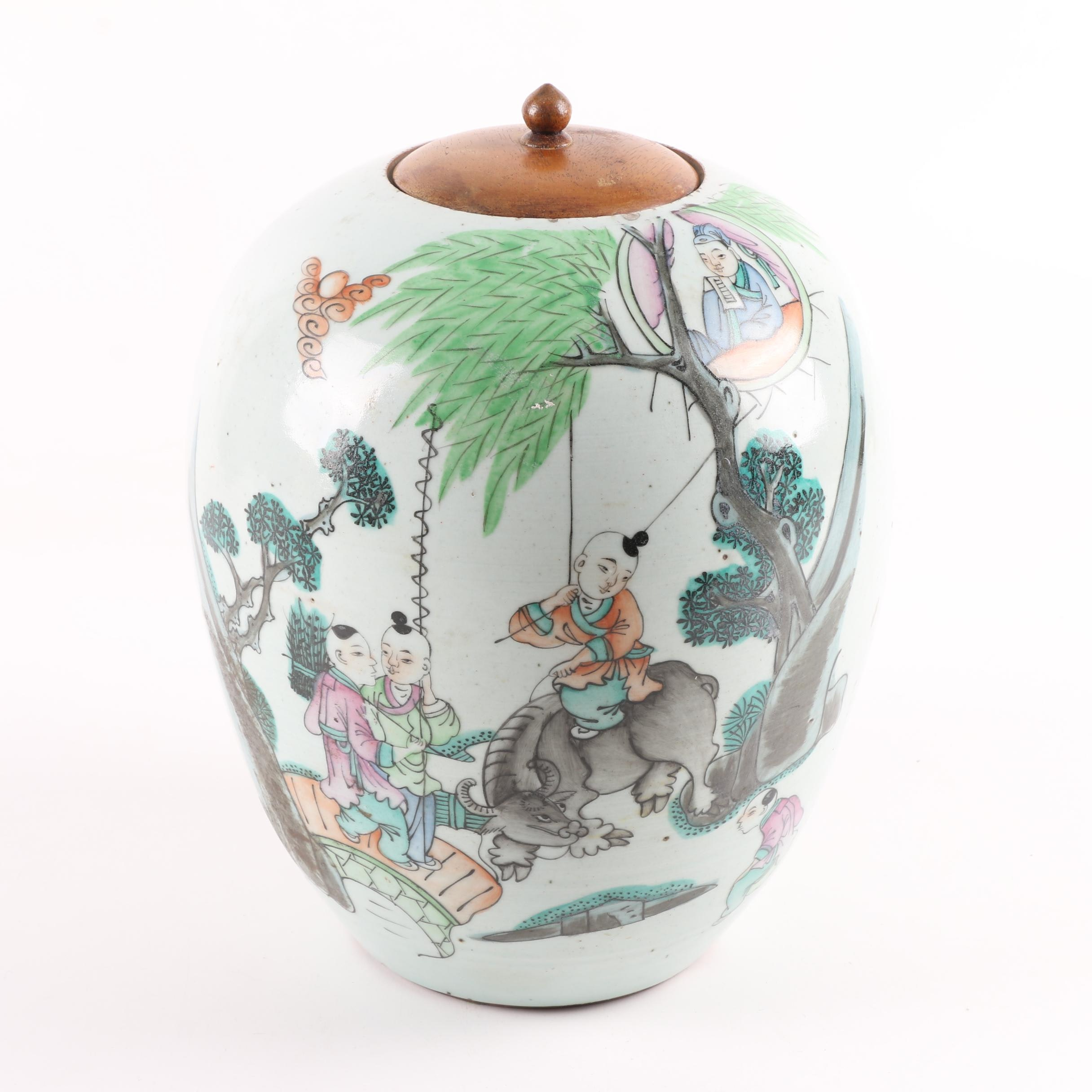 Chinese Hand-Painted Ceramic Urn