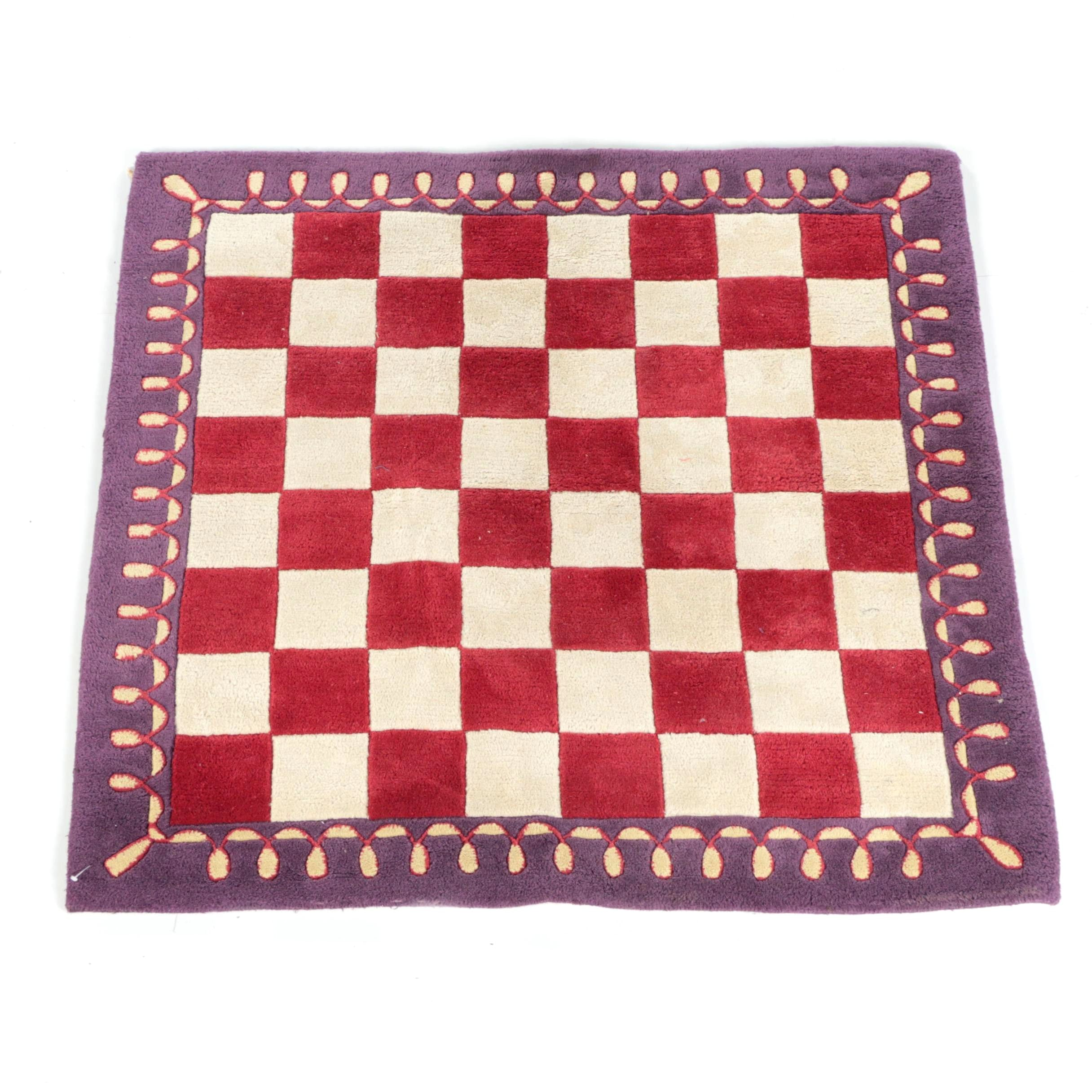 Hand-Tufted Indian Wool Checkerboard Accent Rug