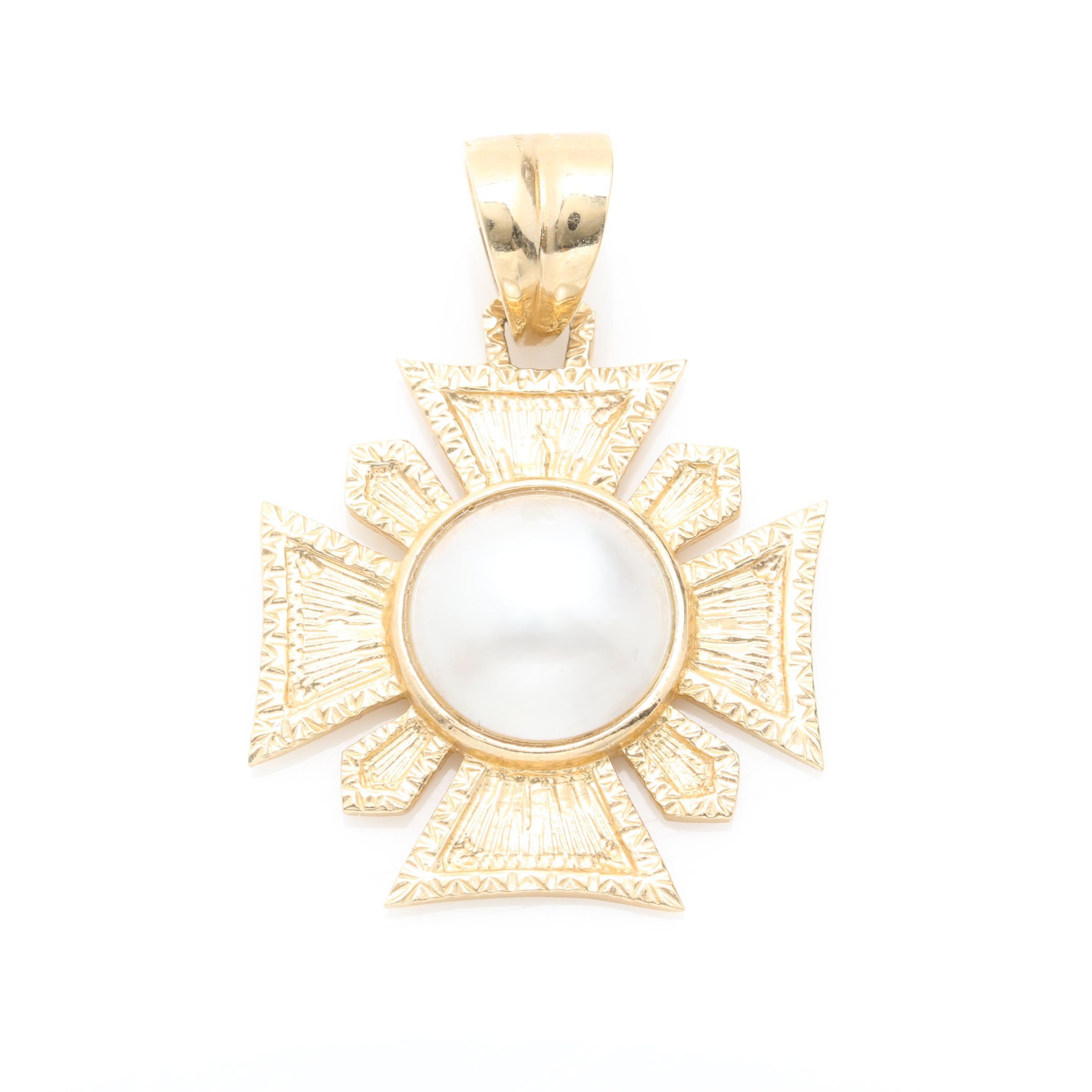 14K Yellow Gold Cultured Pearl Maltese Cross Pendant