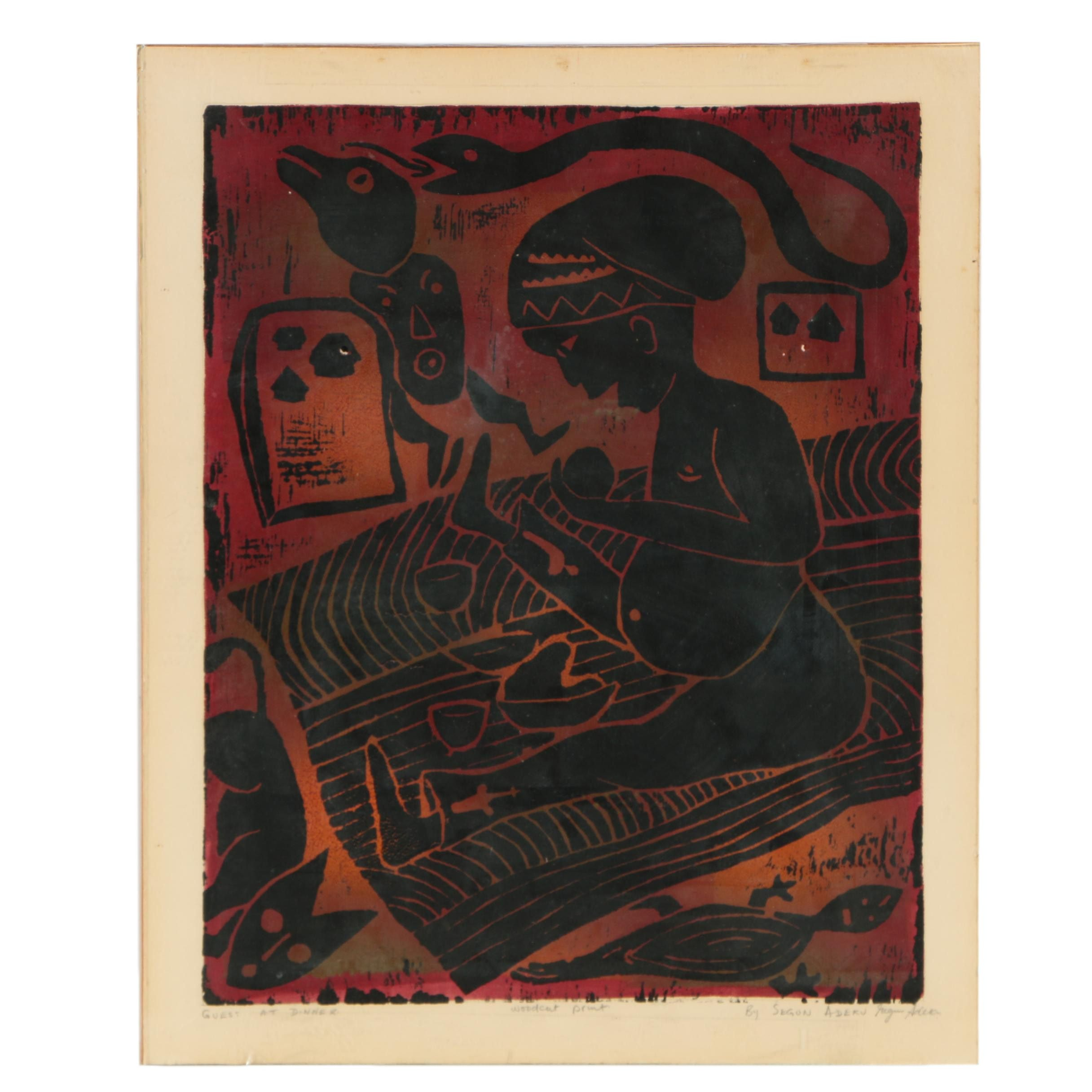 "Segun Adeku Woodcut Print ""Guest at Dinner"""