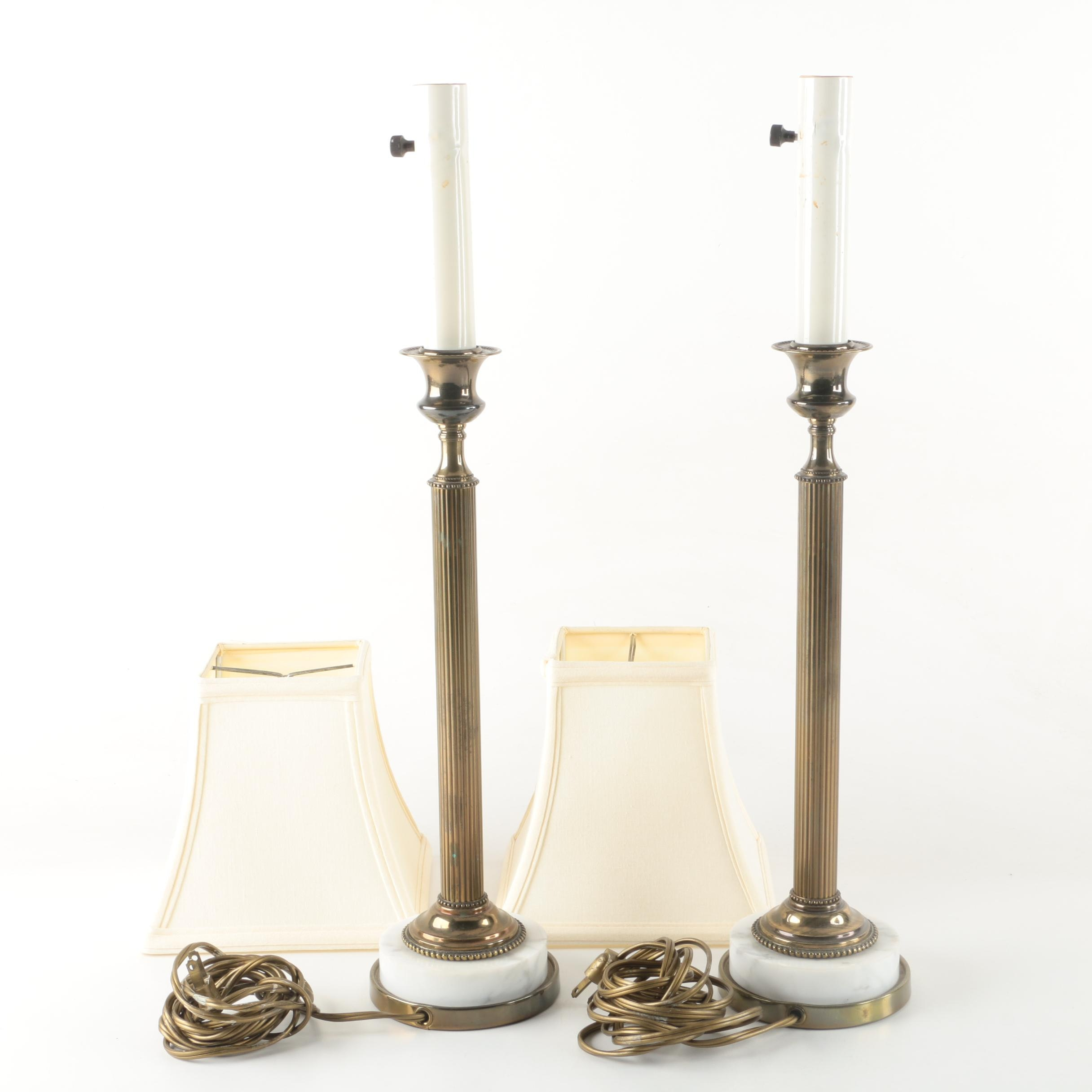 Marble Base Candlestick Buffet Lamps