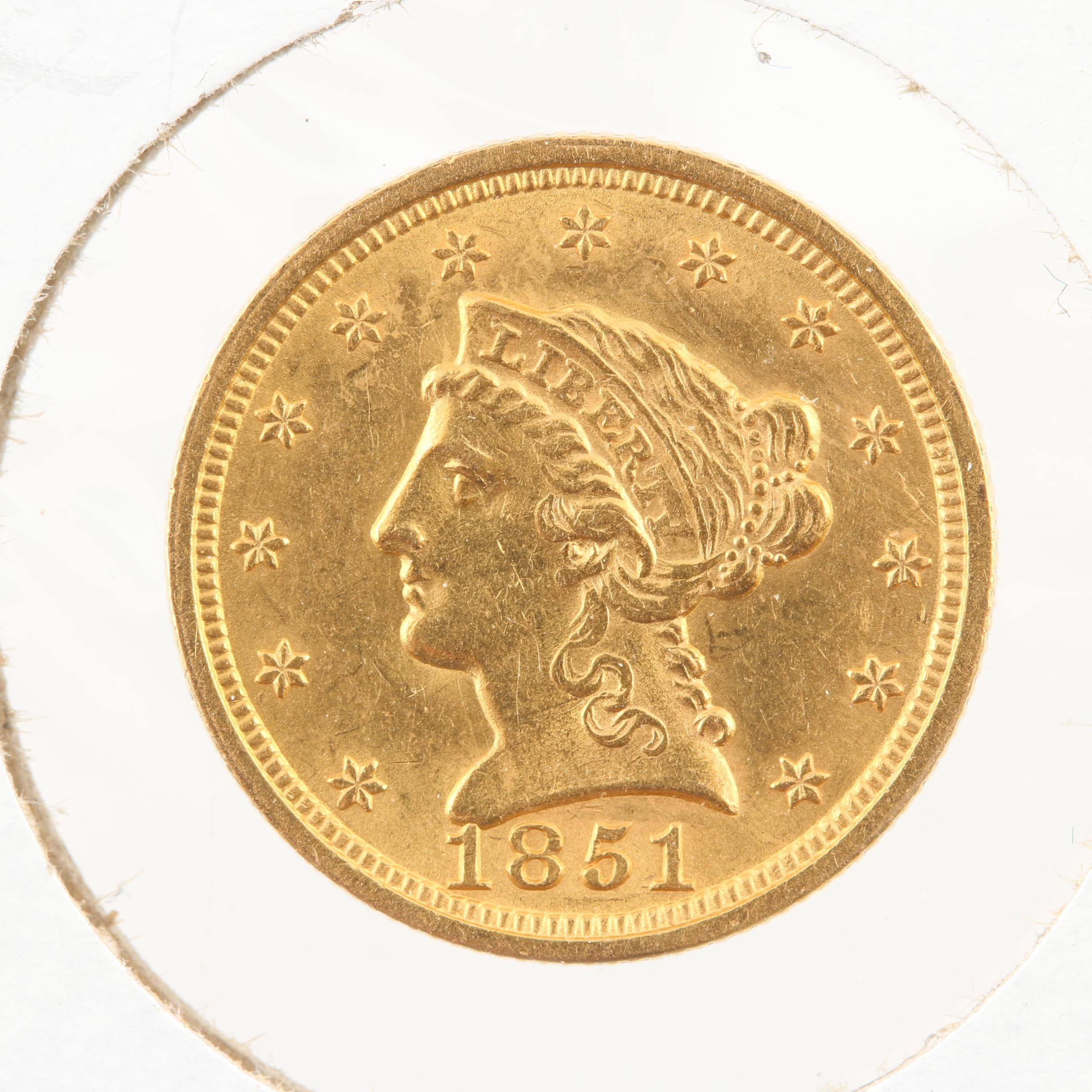 1851 Liberty Head $2 1/2 Gold Coin