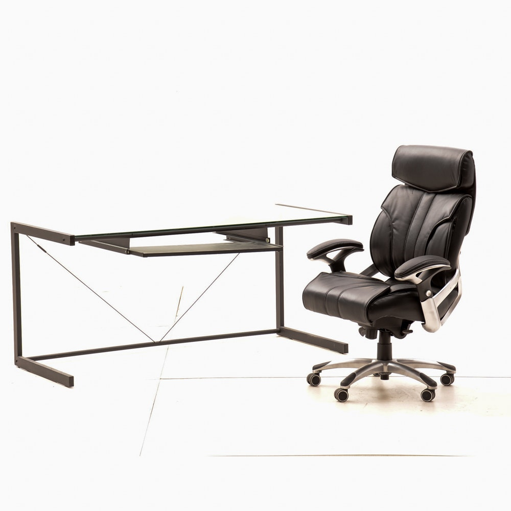 Glass Top Keyboard Desk with Office Chair