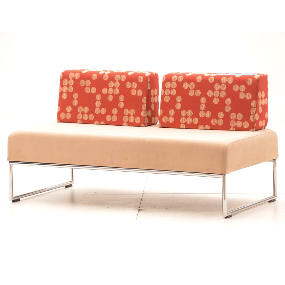 Contemporary Upholstered Armless Loveseat