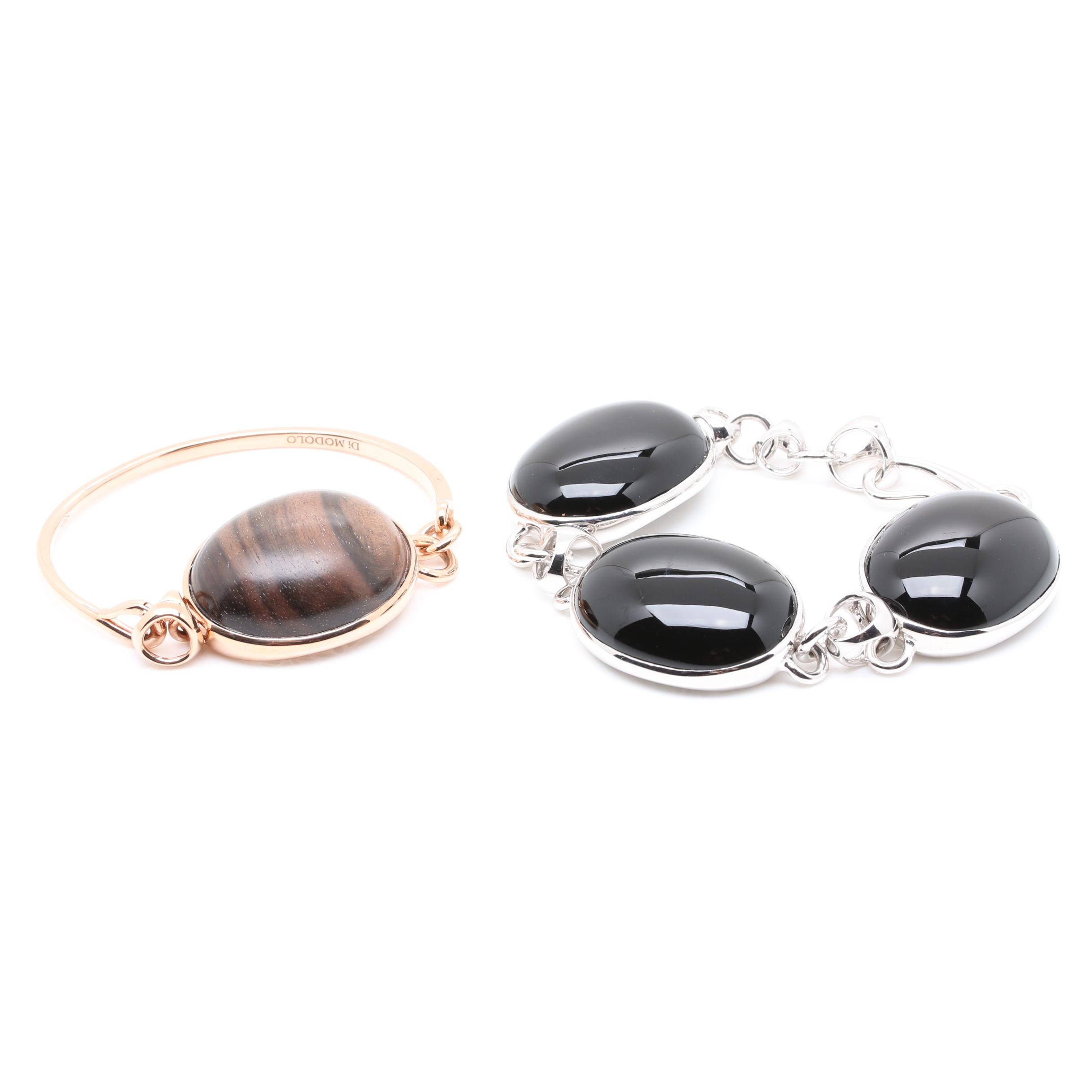 Di Modolo Sterling Silver Black Onyx and Wood Bracelets
