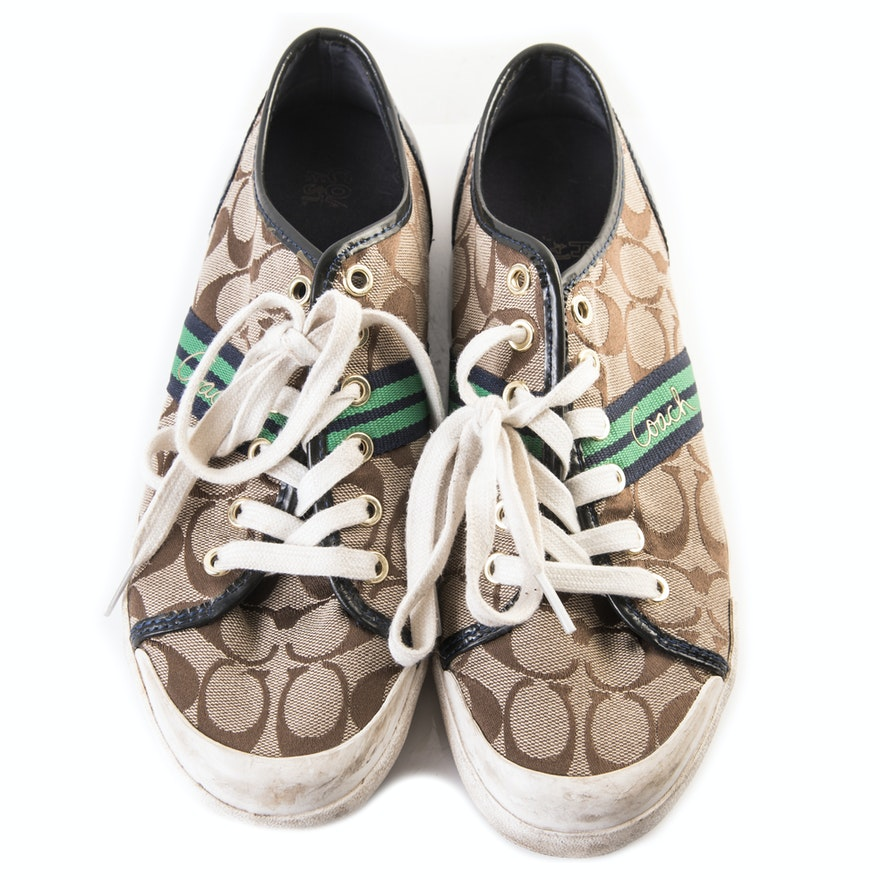 Coach Folly Signature Canvas and Patent Leather Sneakers   EBTH 5540a0df0