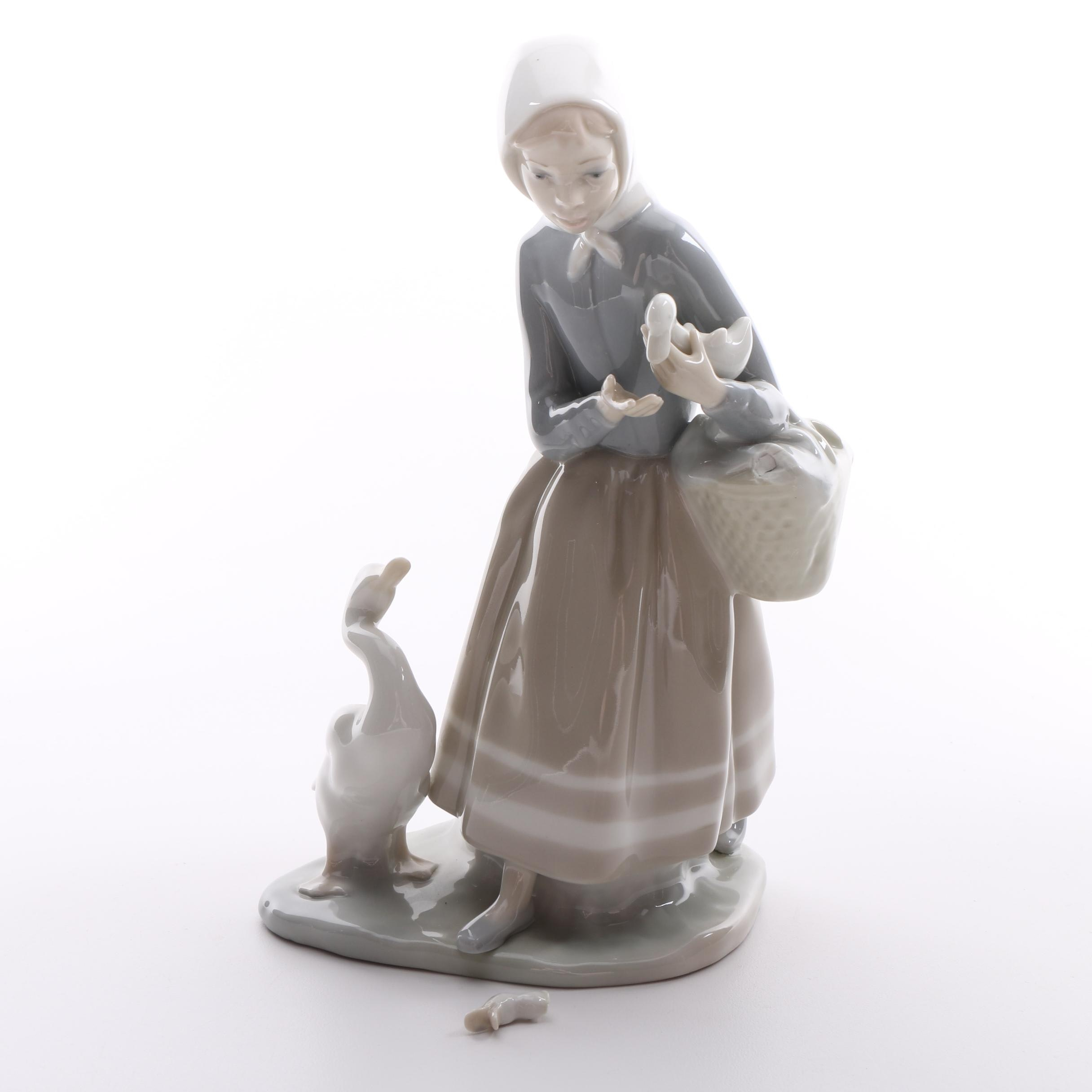 "Lladró ""Shepherdess with Ducks"" Porcelain Figurine"