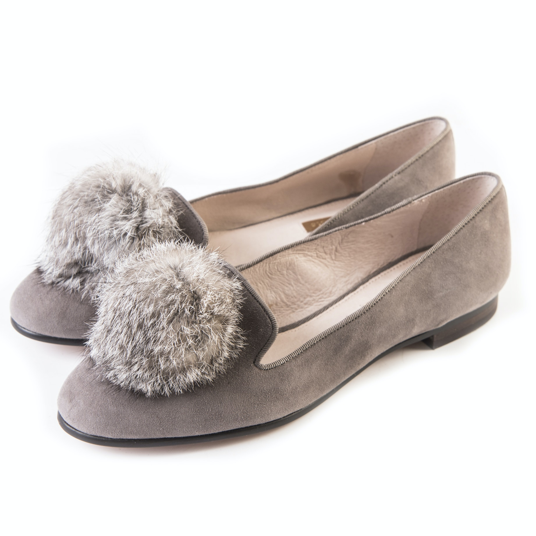 """Louise et Cie """"Andres"""" Rabbit Fur Pompom Leather Loafers Trimmed in Grosgrain"""