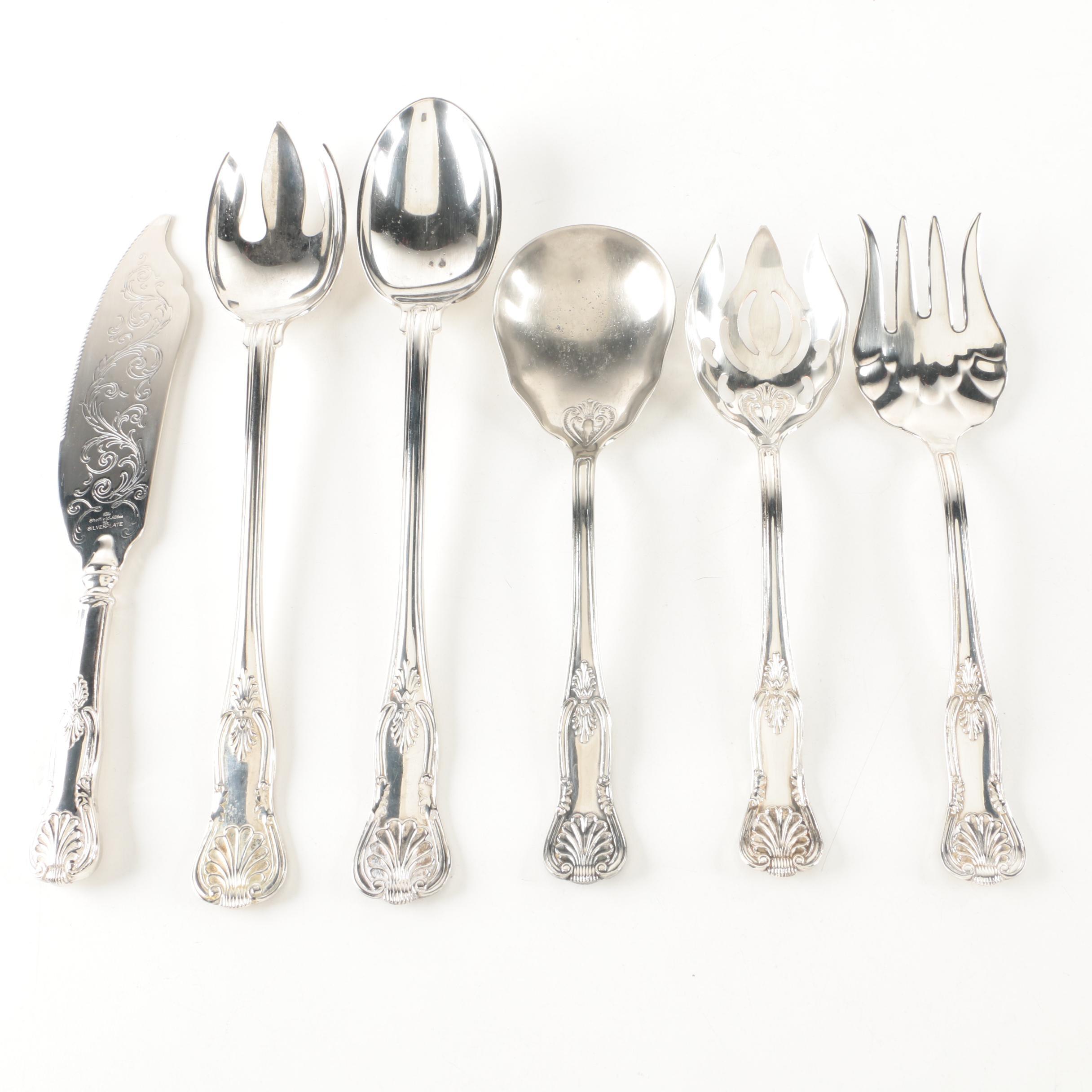 "Sheffield Silver Company ""Kings"" Silver Plate Serving Utensils"